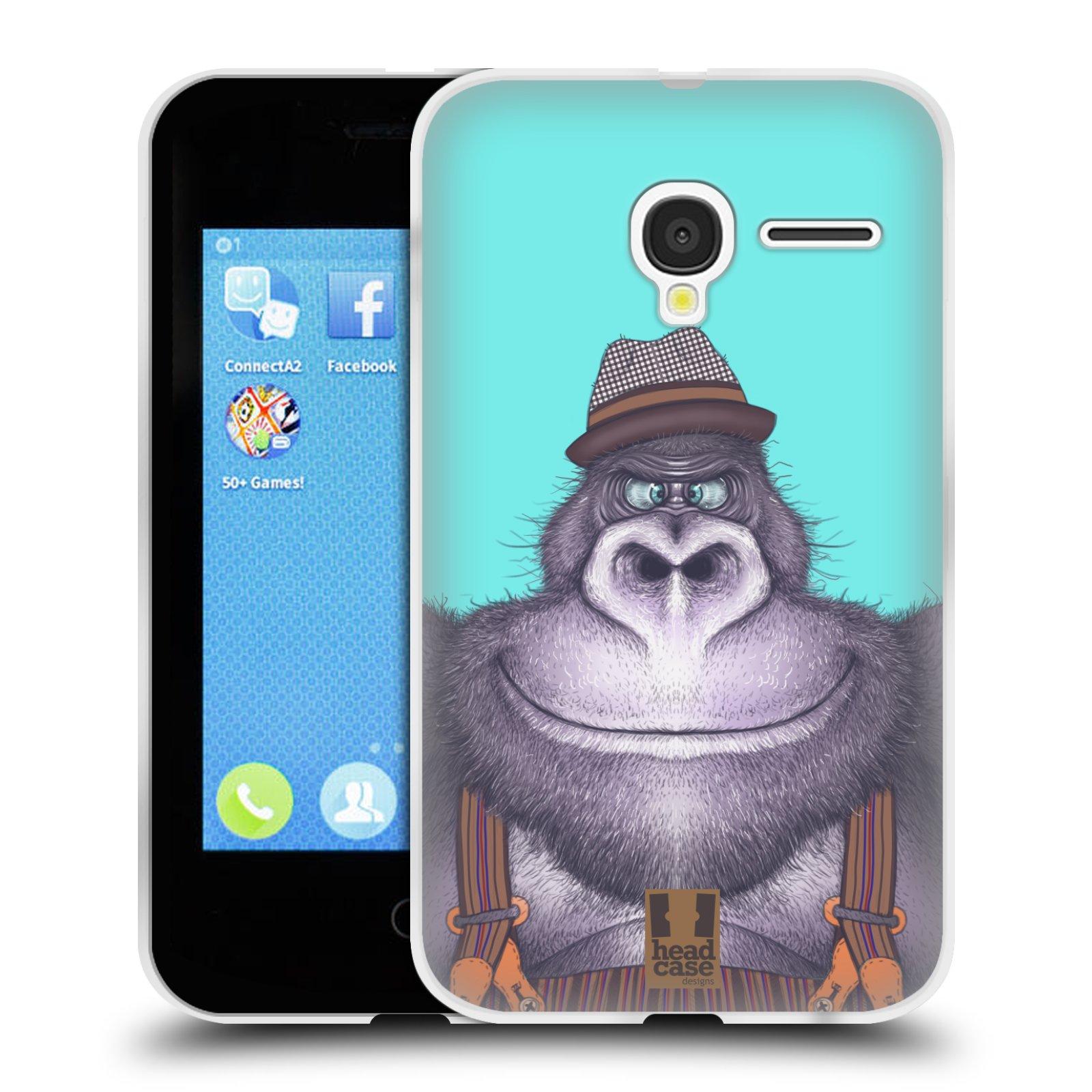 HEAD CASE silikonový obal na mobil Alcatel PIXI 3 OT-4022D (3,5 palcový displej) vzor Kreslená zvířátka gorila