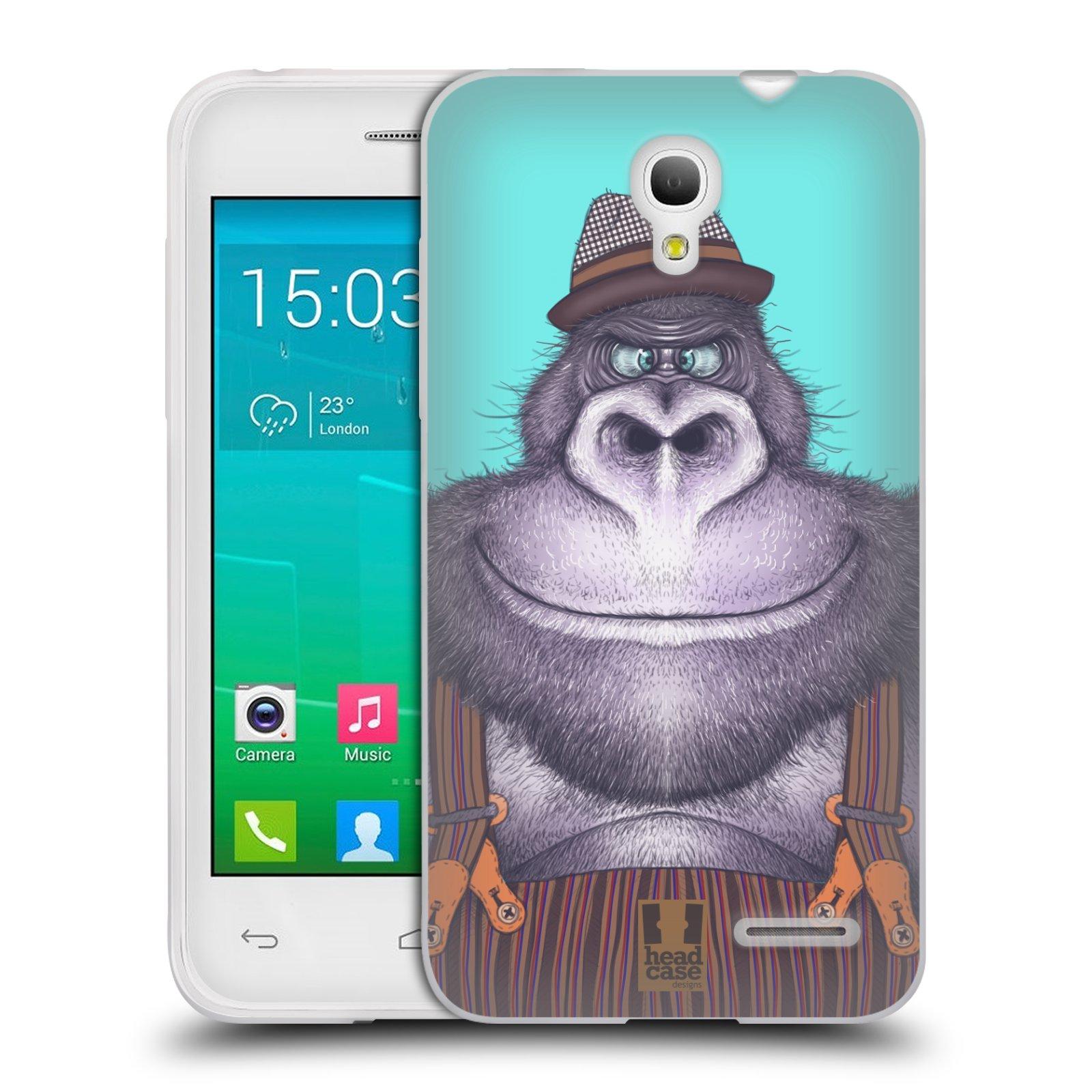 HEAD CASE silikonový obal na mobil Alcatel POP S3 OT-5050Y vzor Kreslená zvířátka gorila