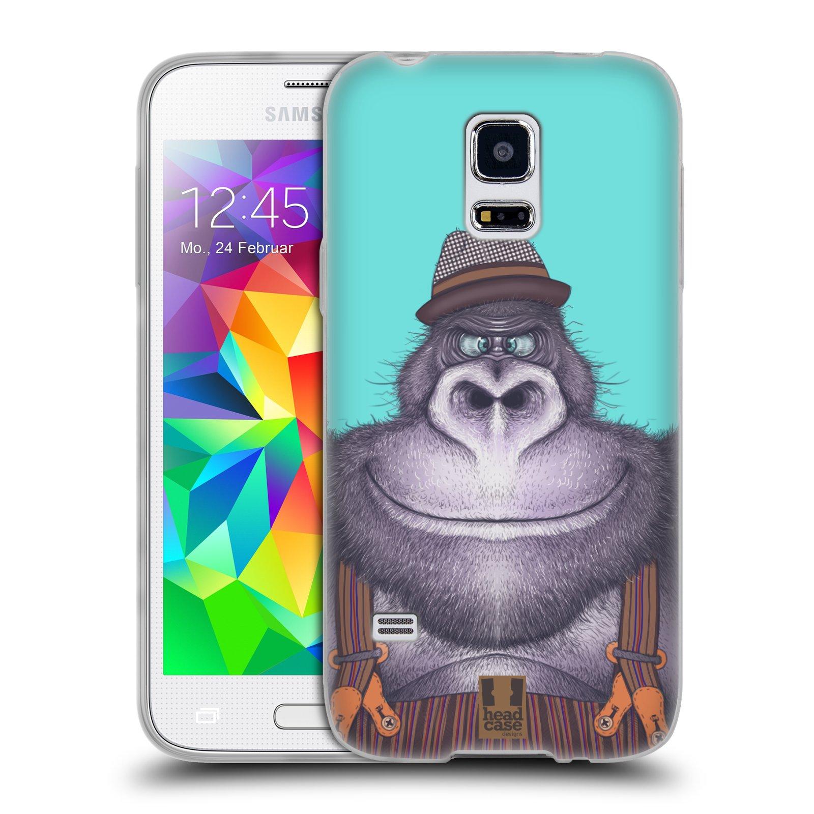 HEAD CASE silikonový obal na mobil Samsung Galaxy S5 MINI vzor Kreslená zvířátka gorila