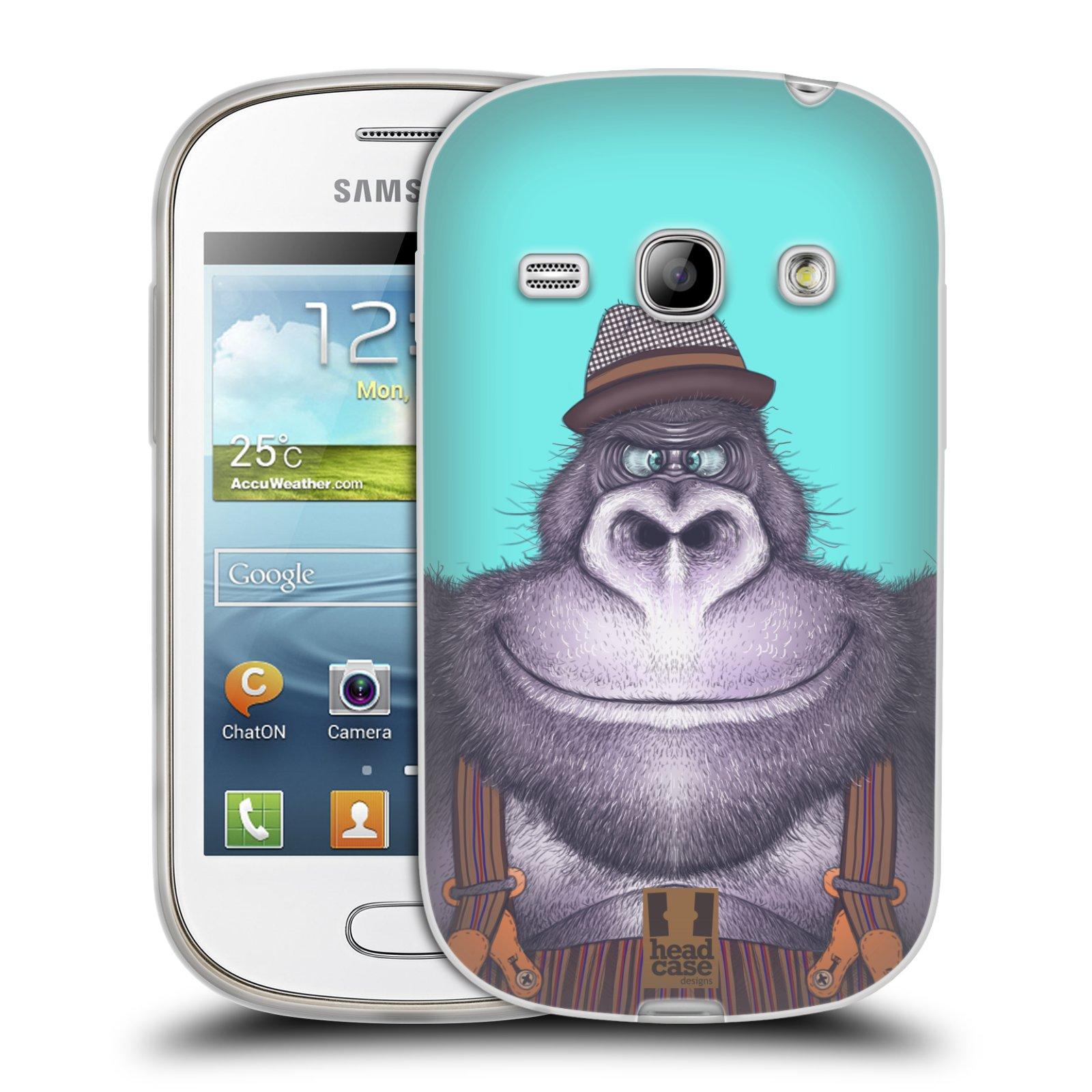 HEAD CASE silikonový obal na mobil Samsung Galaxy FAME vzor Kreslená zvířátka gorila