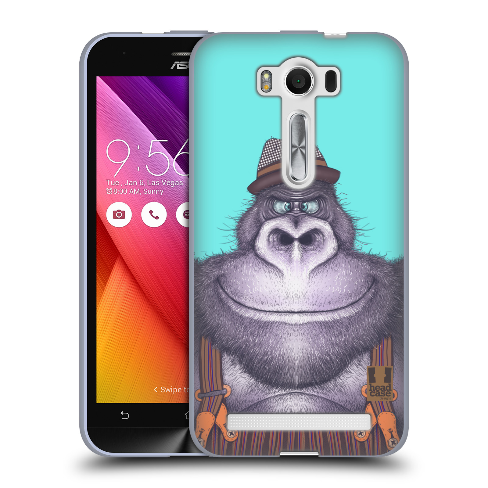 "HEAD CASE silikonový obal na mobil Asus Zenfone 2 LASER (ZE500KL s 5"" displejem) vzor Kreslená zvířátka gorila"
