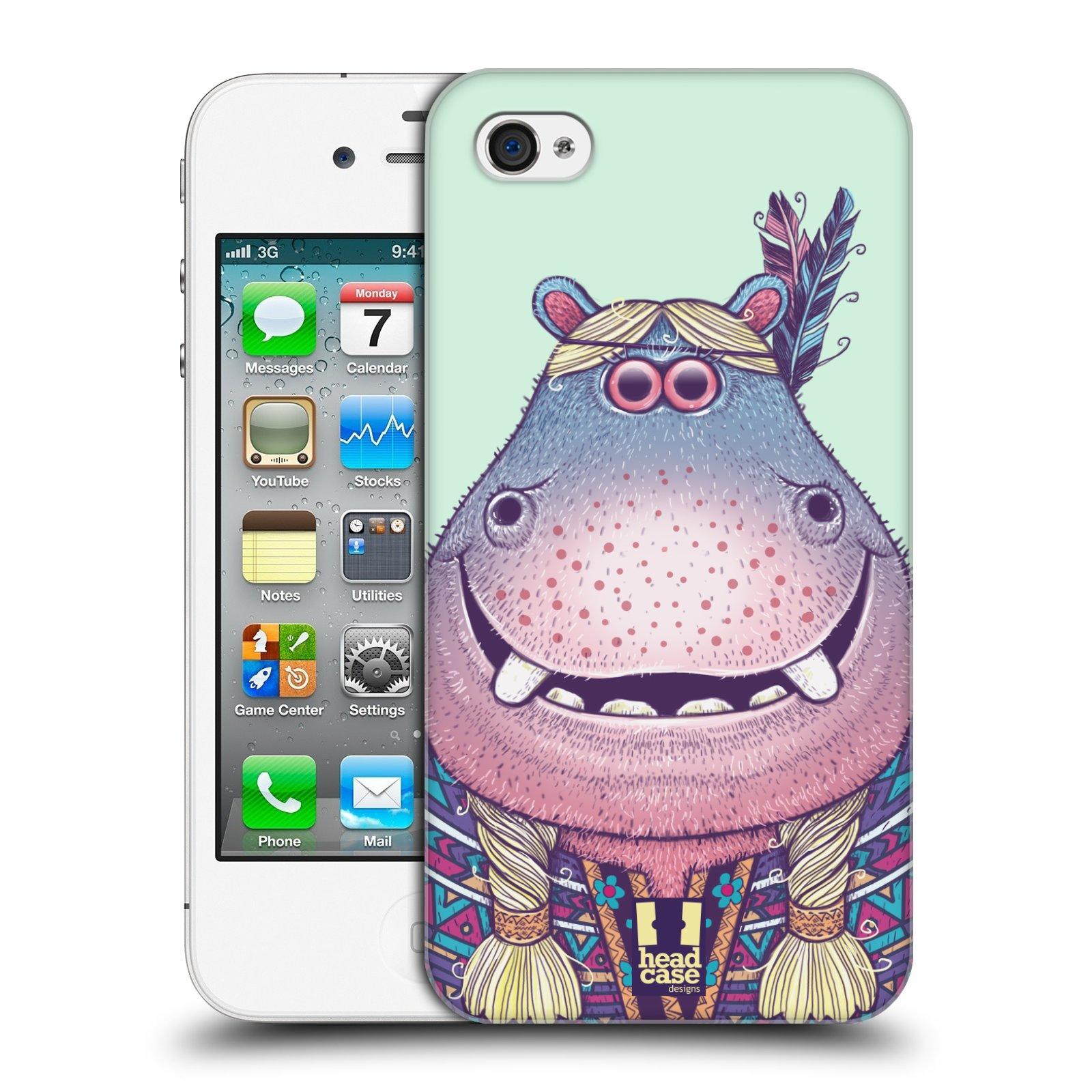 HEAD CASE plastový obal na mobil Apple Iphone 4/4S vzor Kreslená zvířátka hroch
