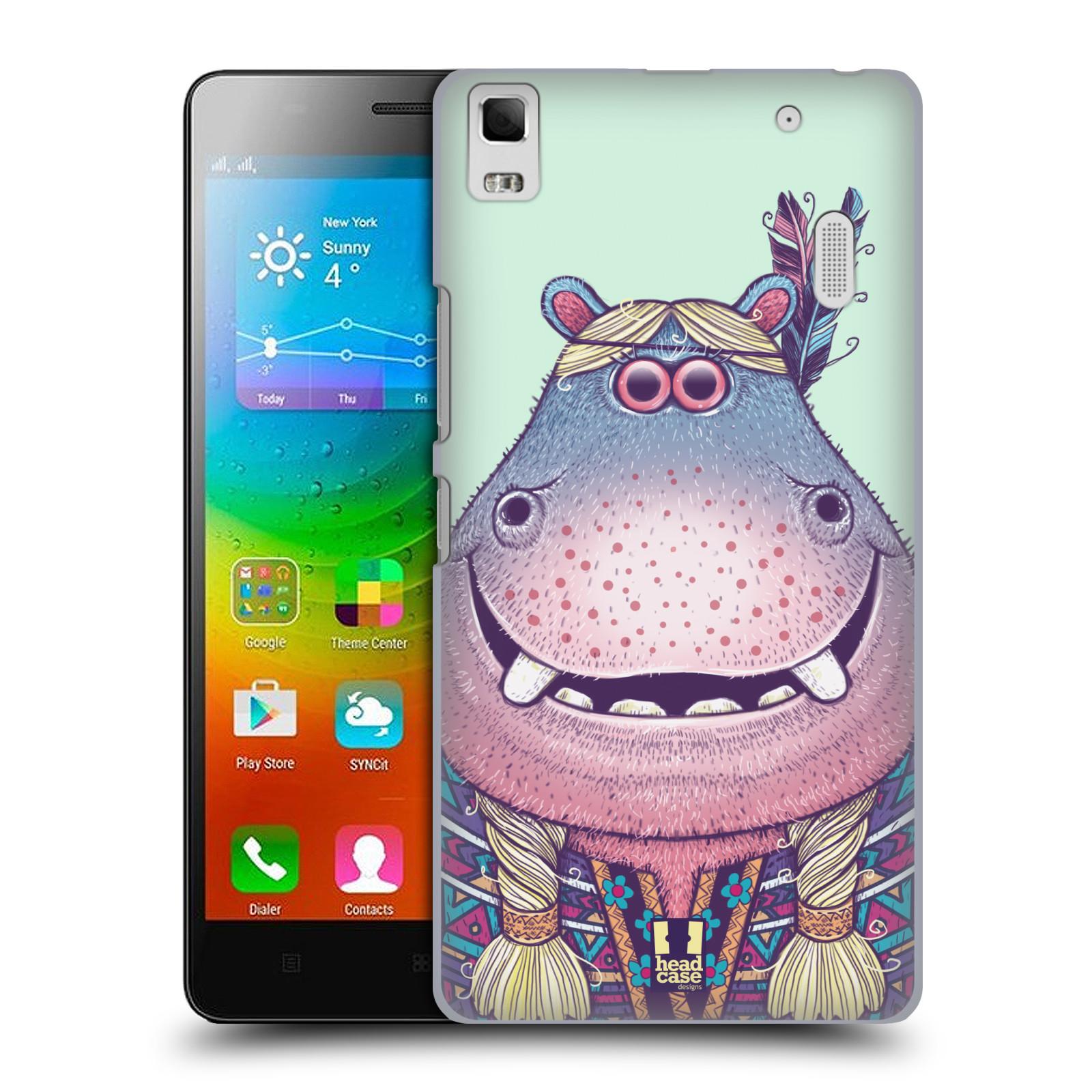 HEAD CASE pevný plastový obal na mobil LENOVO A7000 / A7000 DUAL / K3 NOTE vzor Kreslená zvířátka hroch