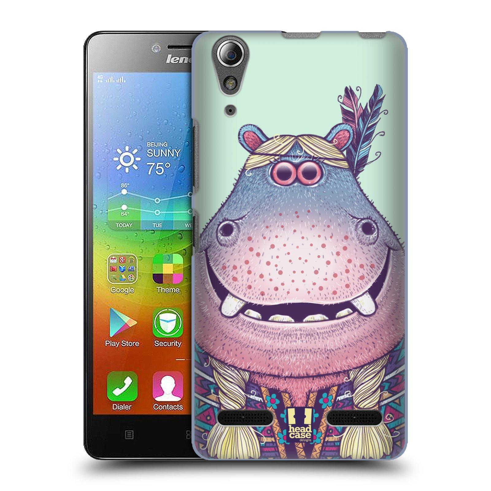 HEAD CASE pevný plastový obal na mobil LENOVO A6000 / A6000 PLUS vzor Kreslená zvířátka hroch