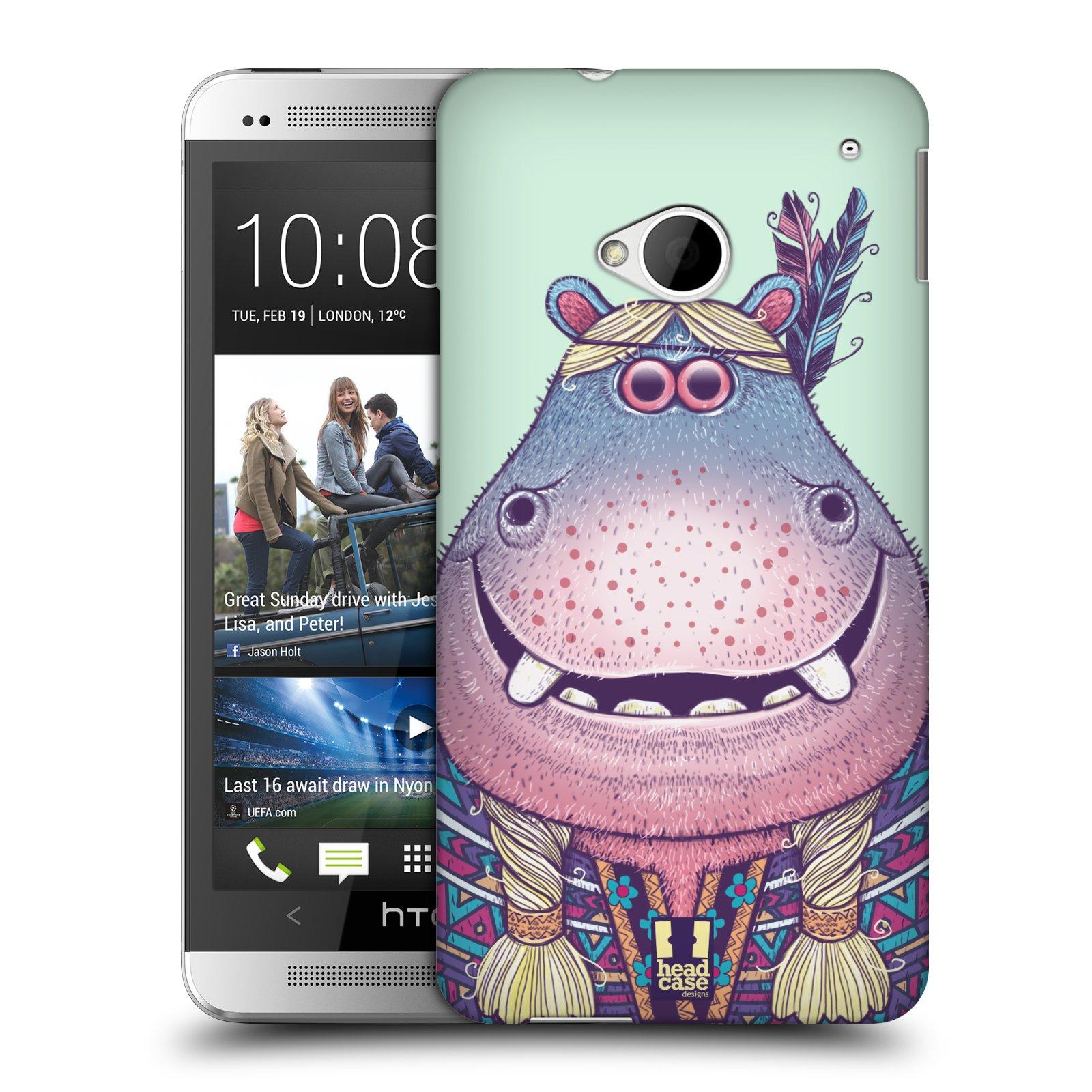 HEAD CASE plastový obal na mobil HTC One (M7) vzor Kreslená zvířátka hroch