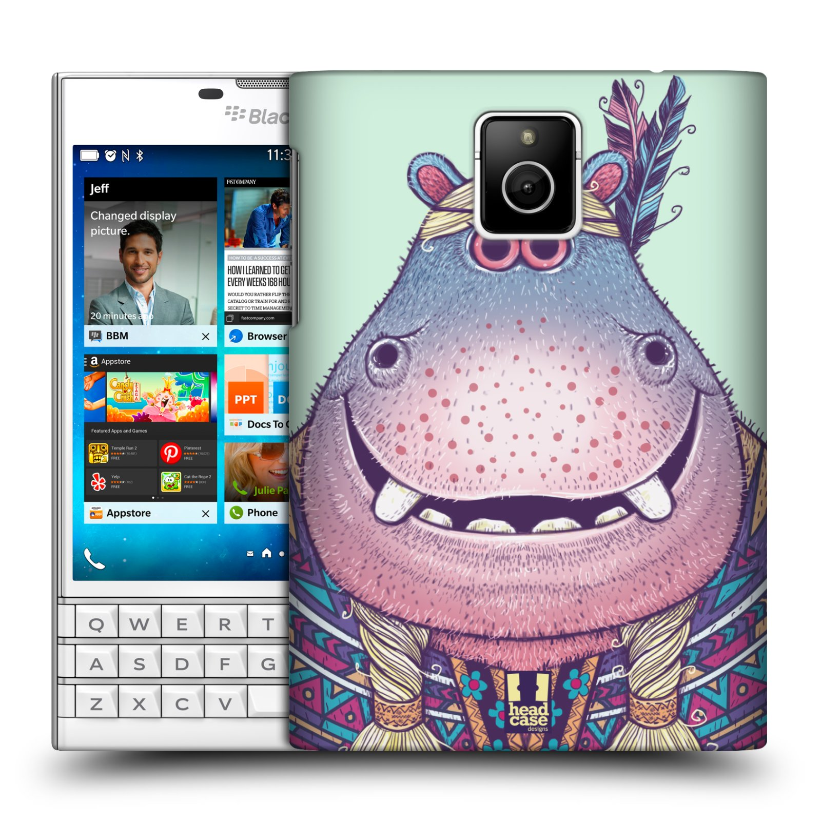 HEAD CASE plastový obal na mobil BlackBerry Passport vzor Kreslená zvířátka hroch