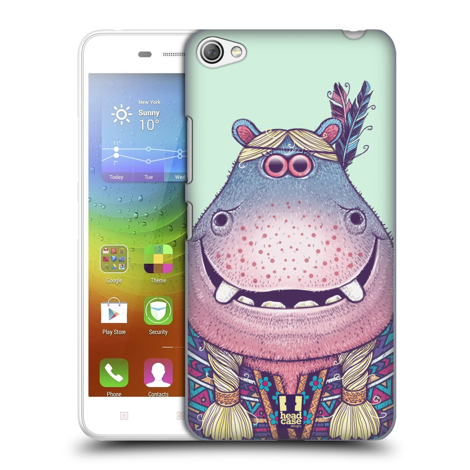 HEAD CASE pevný plastový obal na mobil LENOVO S60 / LENOVO S60 DUAL SIM vzor Kreslená zvířátka hroch