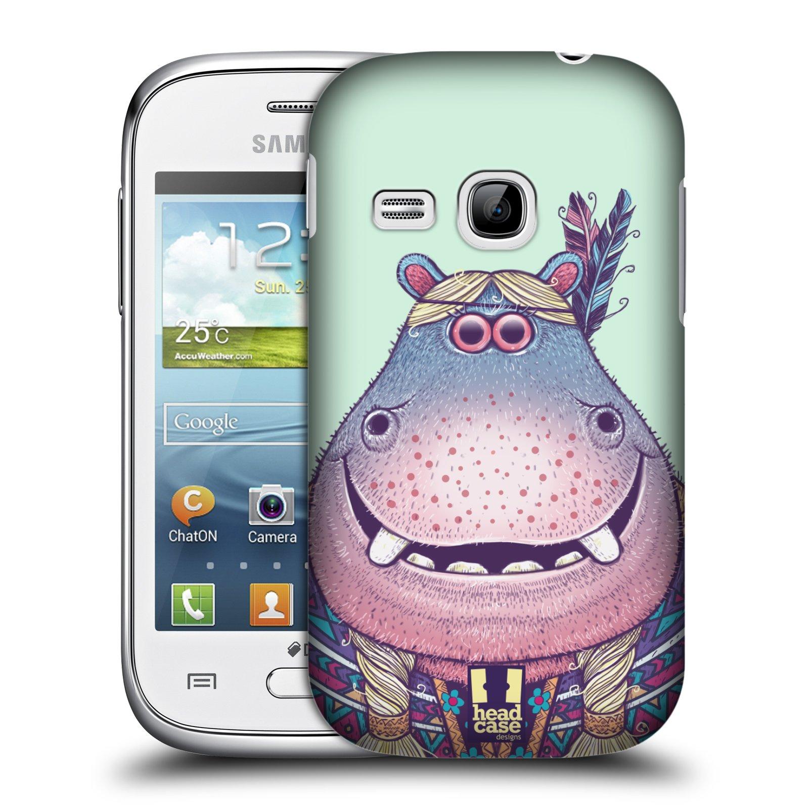 HEAD CASE plastový obal na mobil SAMSUNG Galaxy Young S6310 vzor Kreslená zvířátka hroch