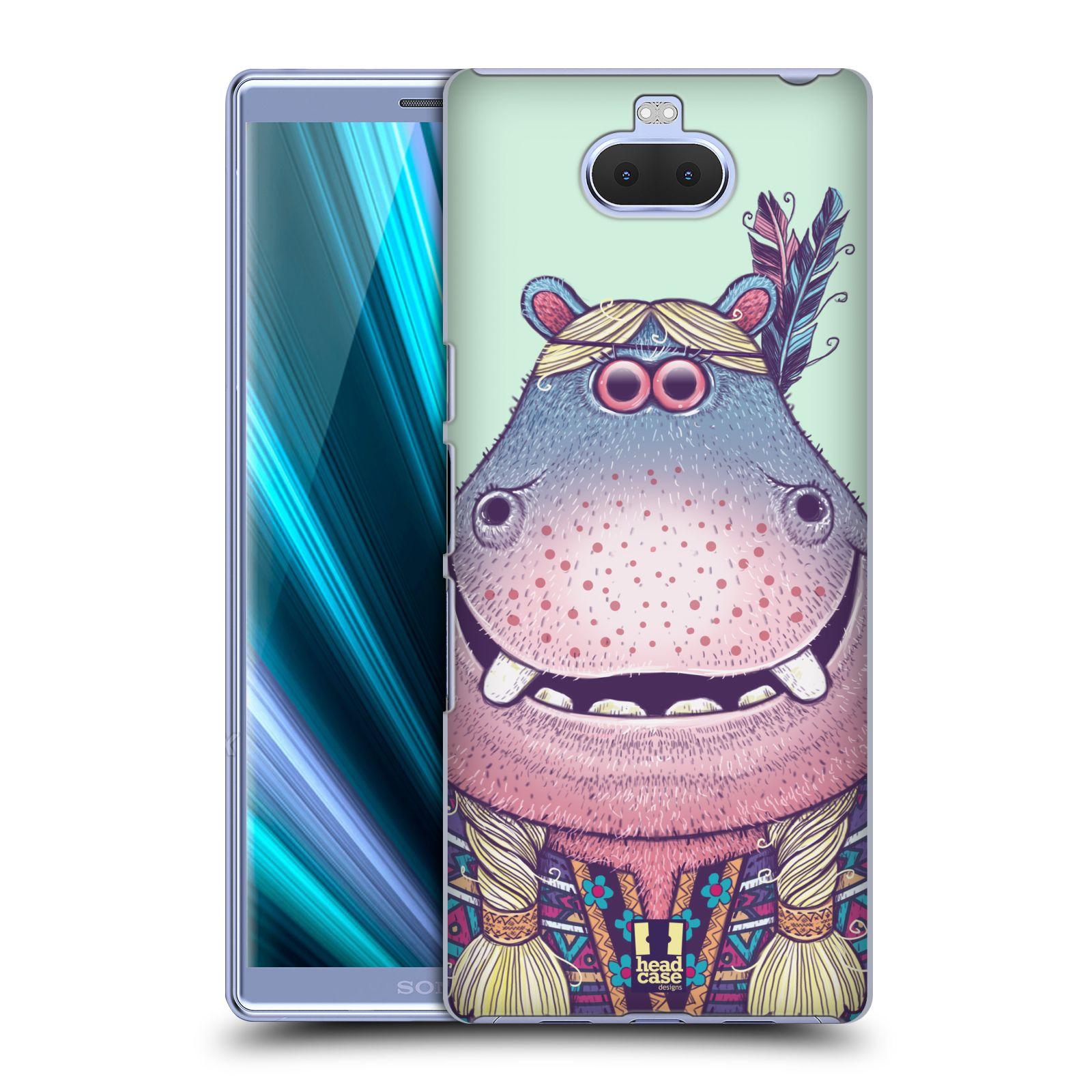 Pouzdro na mobil Sony Xperia 10 - Head Case - vzor Kreslená zvířátka hroch