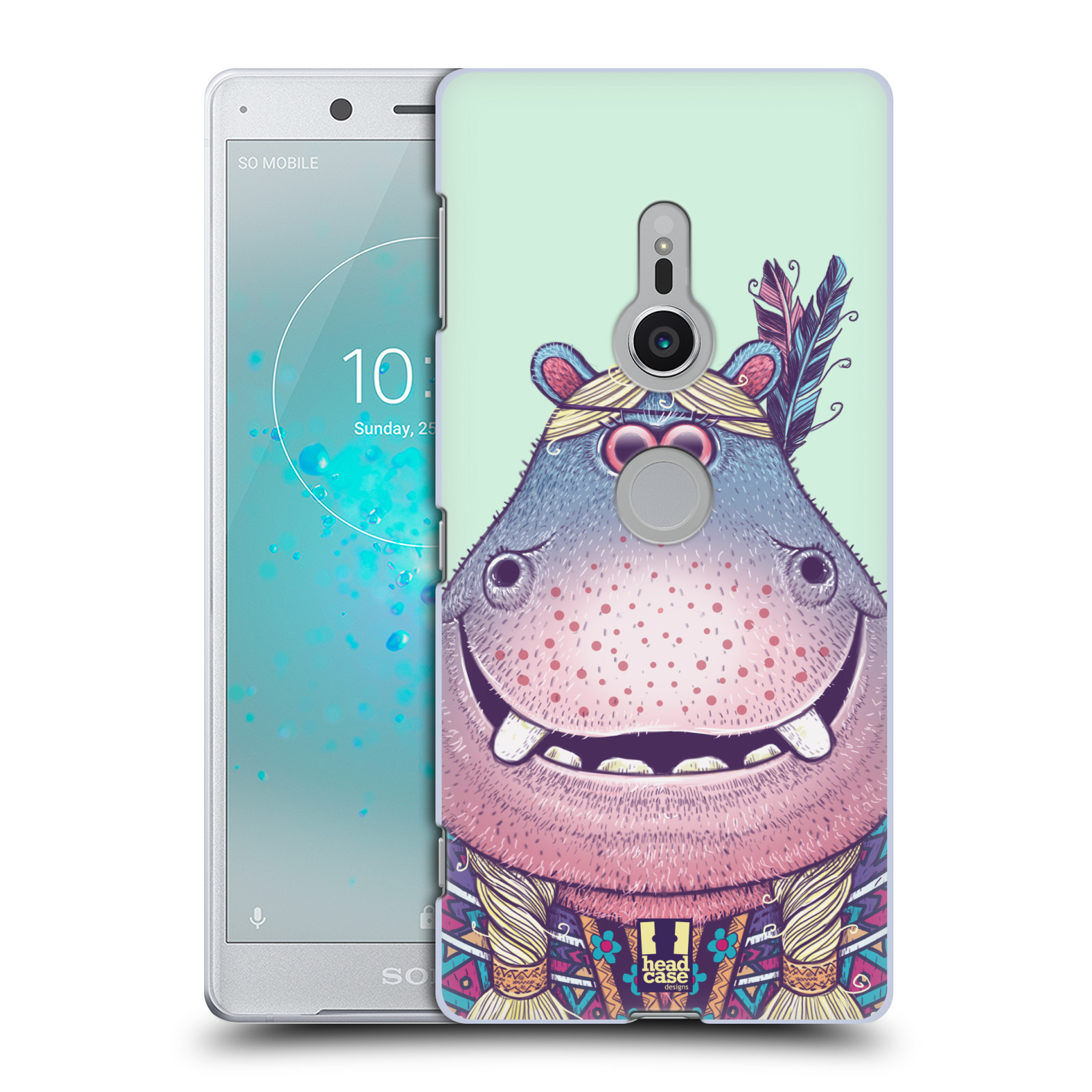 HEAD CASE plastový obal na mobil Sony Xperia XZ2 vzor Kreslená zvířátka hroch