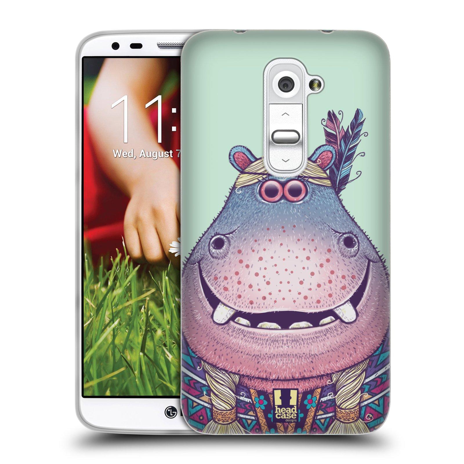 HEAD CASE silikonový obal na mobil LG G2 vzor Kreslená zvířátka hroch