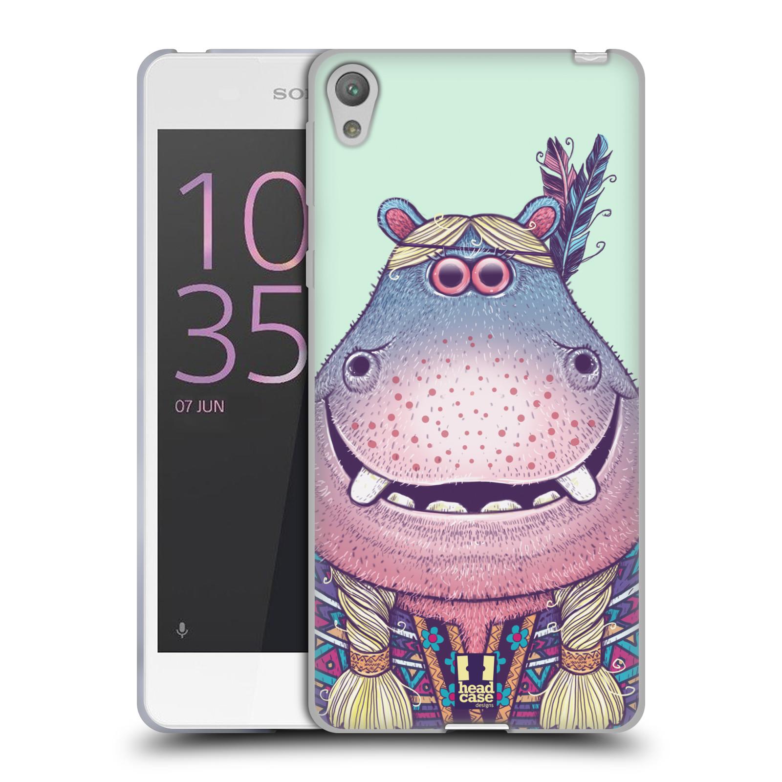 HEAD CASE silikonový obal na mobil SONY XPERIA E5 vzor Kreslená zvířátka hroch