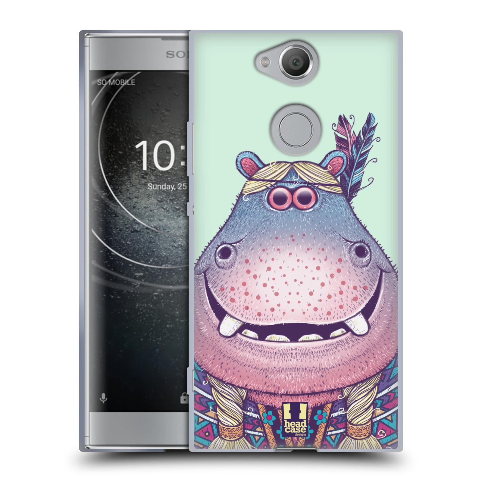 Pouzdro na mobil Sony Xperia XA2 (DUAL SIM, SINGLE SIM) vzor Kreslená zvířátka hroch
