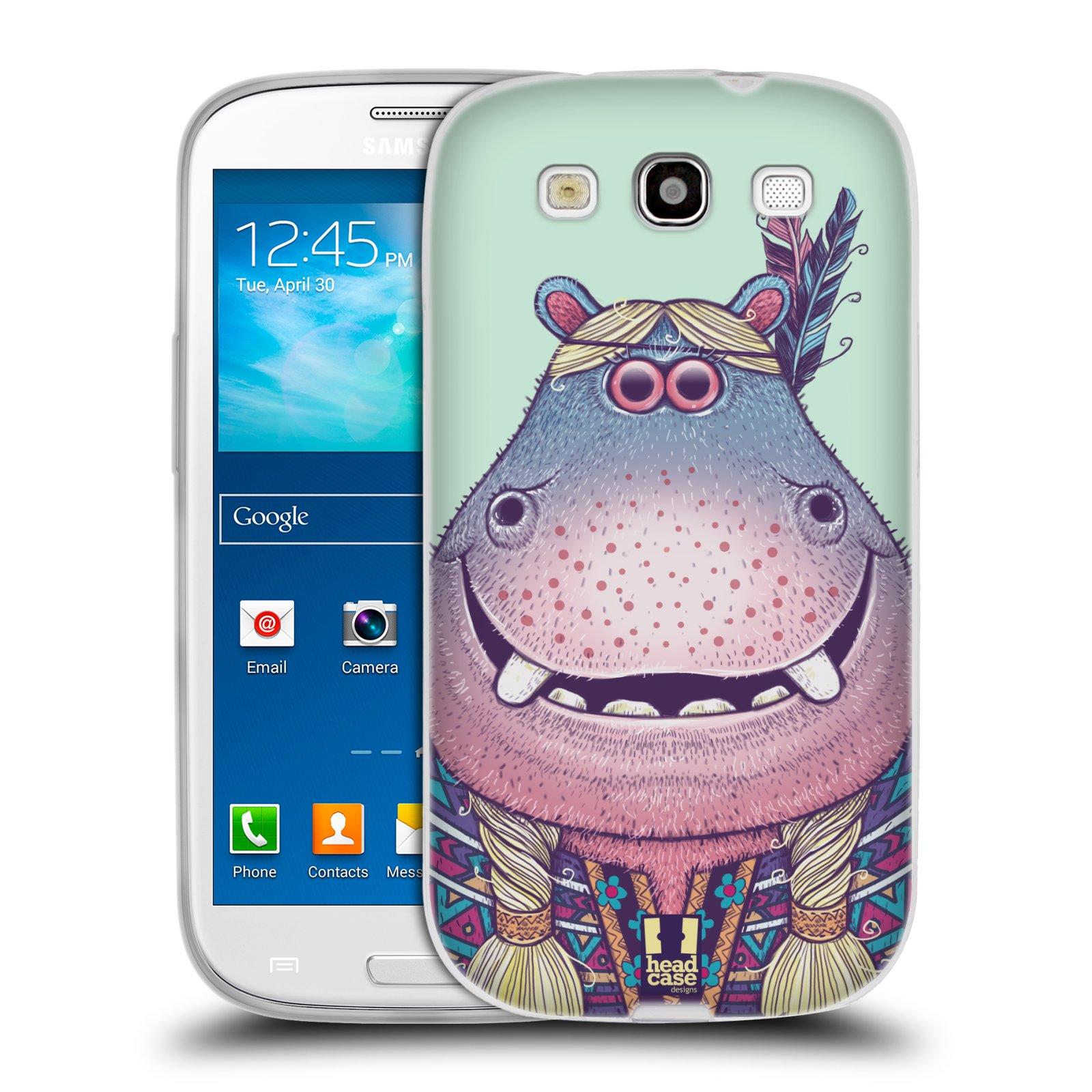 HEAD CASE silikonový obal na mobil Samsung Galaxy S3 i9300 vzor Kreslená zvířátka hroch