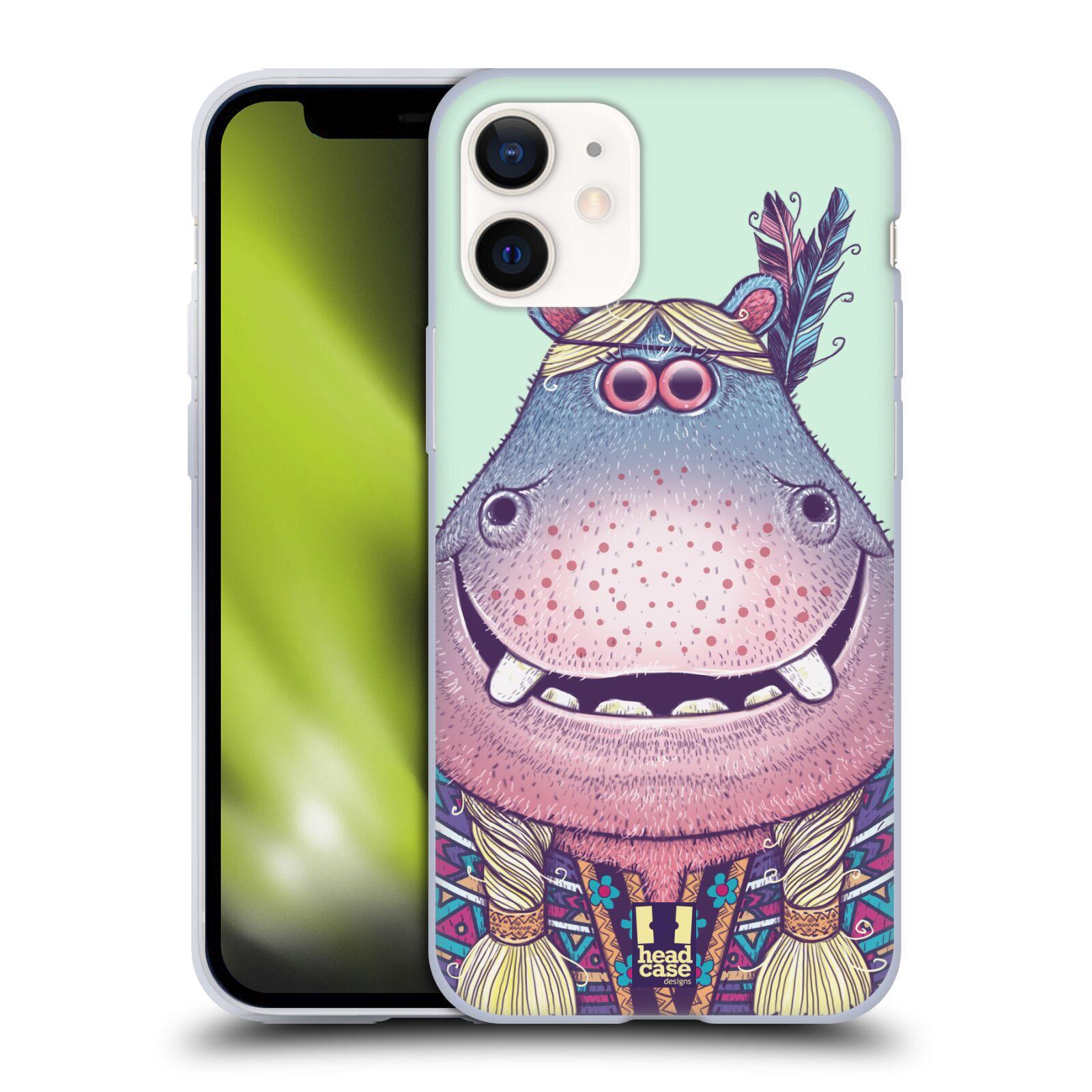 Plastový obal na mobil Apple Iphone 12 MINI vzor Kreslená zvířátka hroch