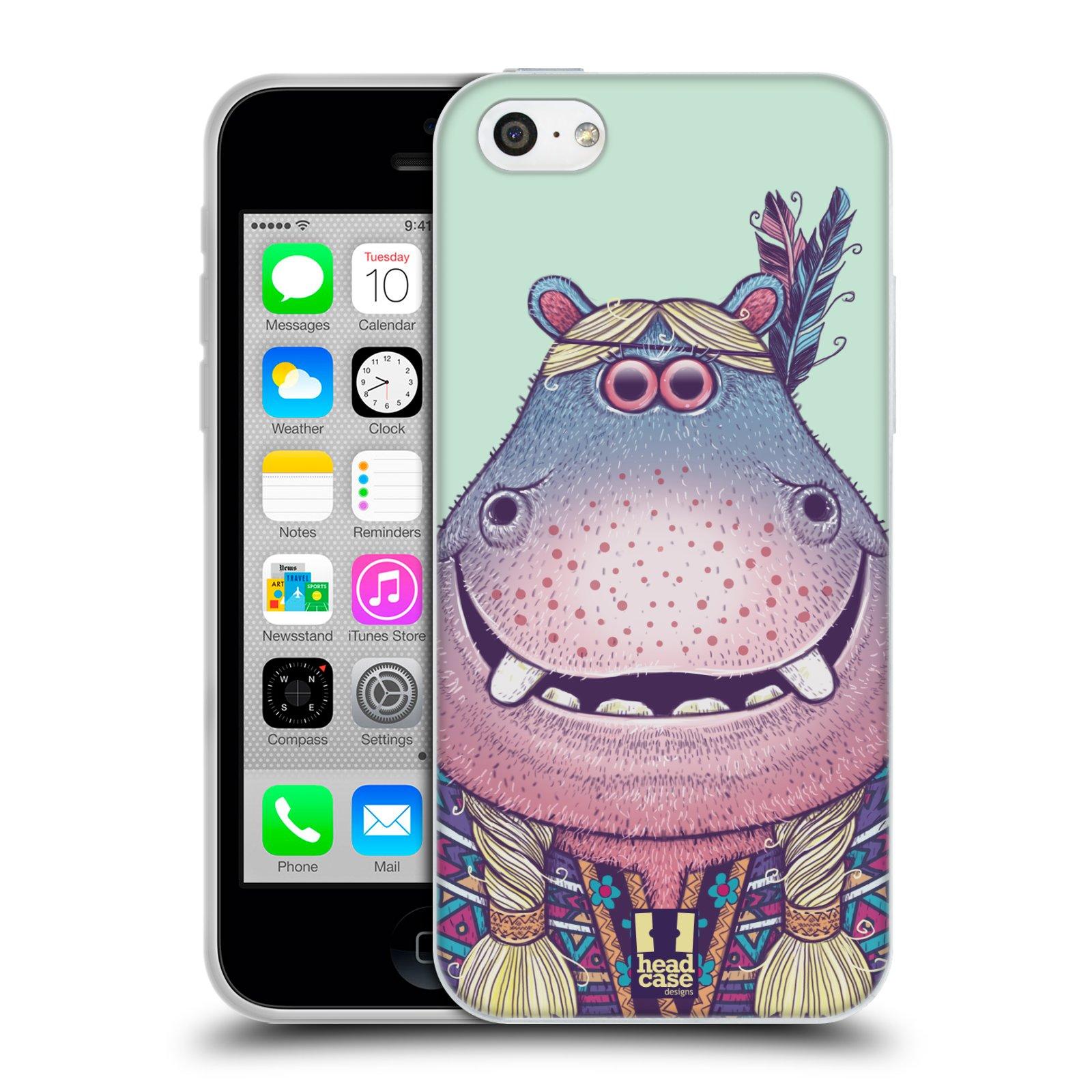 HEAD CASE silikonový obal na mobil Apple Iphone 5C vzor Kreslená zvířátka hroch