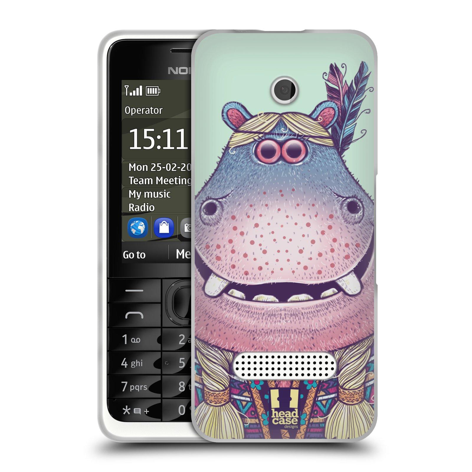 HEAD CASE silikonový obal na mobil NOKIA 301 vzor Kreslená zvířátka hroch