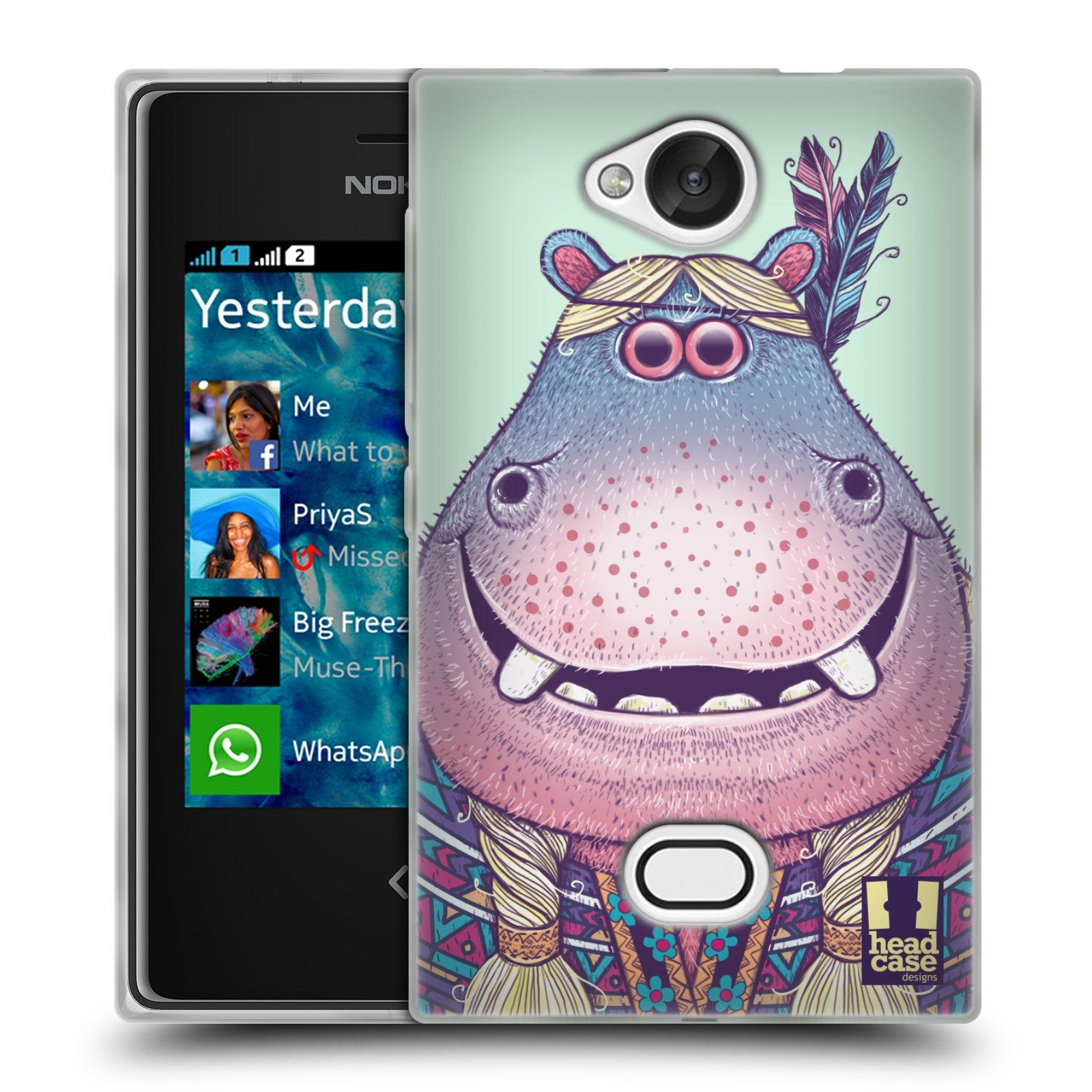 HEAD CASE silikonový obal na mobil NOKIA Asha 503 vzor Kreslená zvířátka hroch