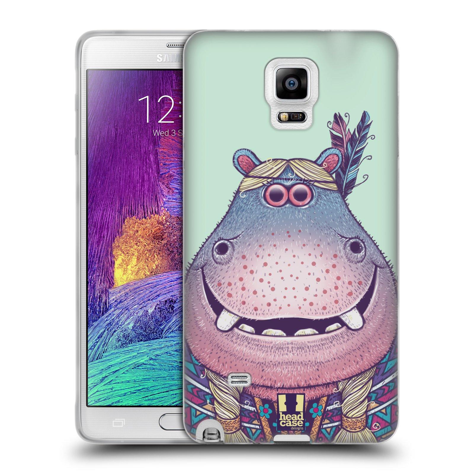 HEAD CASE silikonový obal na mobil Samsung Galaxy Note 4 (N910) vzor Kreslená zvířátka hroch