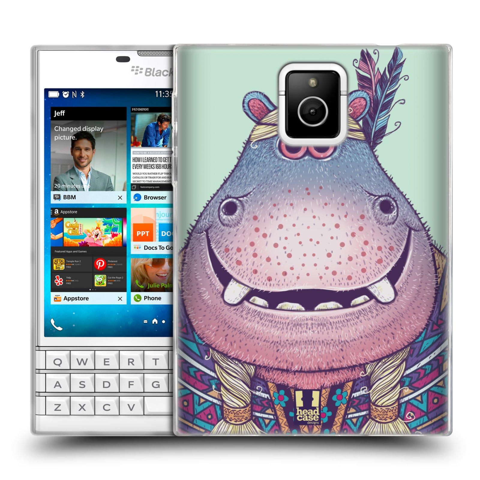 HEAD CASE silikonový obal na mobil Blackberry PASSPORT vzor Kreslená zvířátka hroch