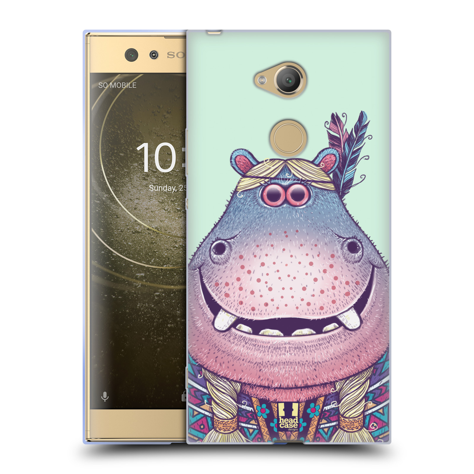Pouzdro na mobil Sony Xperia XA2 Ultra vzor Kreslená zvířátka hroch