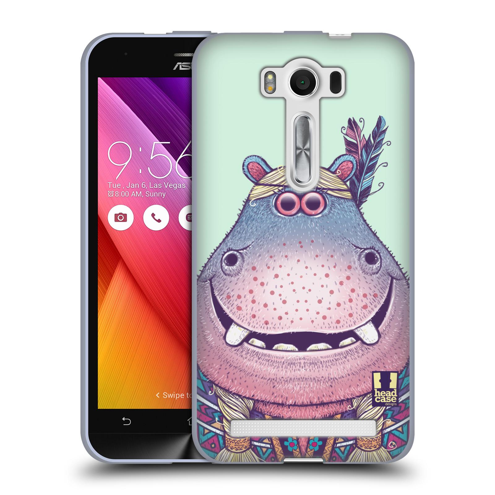 """HEAD CASE silikonový obal na mobil Asus Zenfone 2 LASER (ZE500KL s 5"""" displejem) vzor Kreslená zvířátka hroch"""