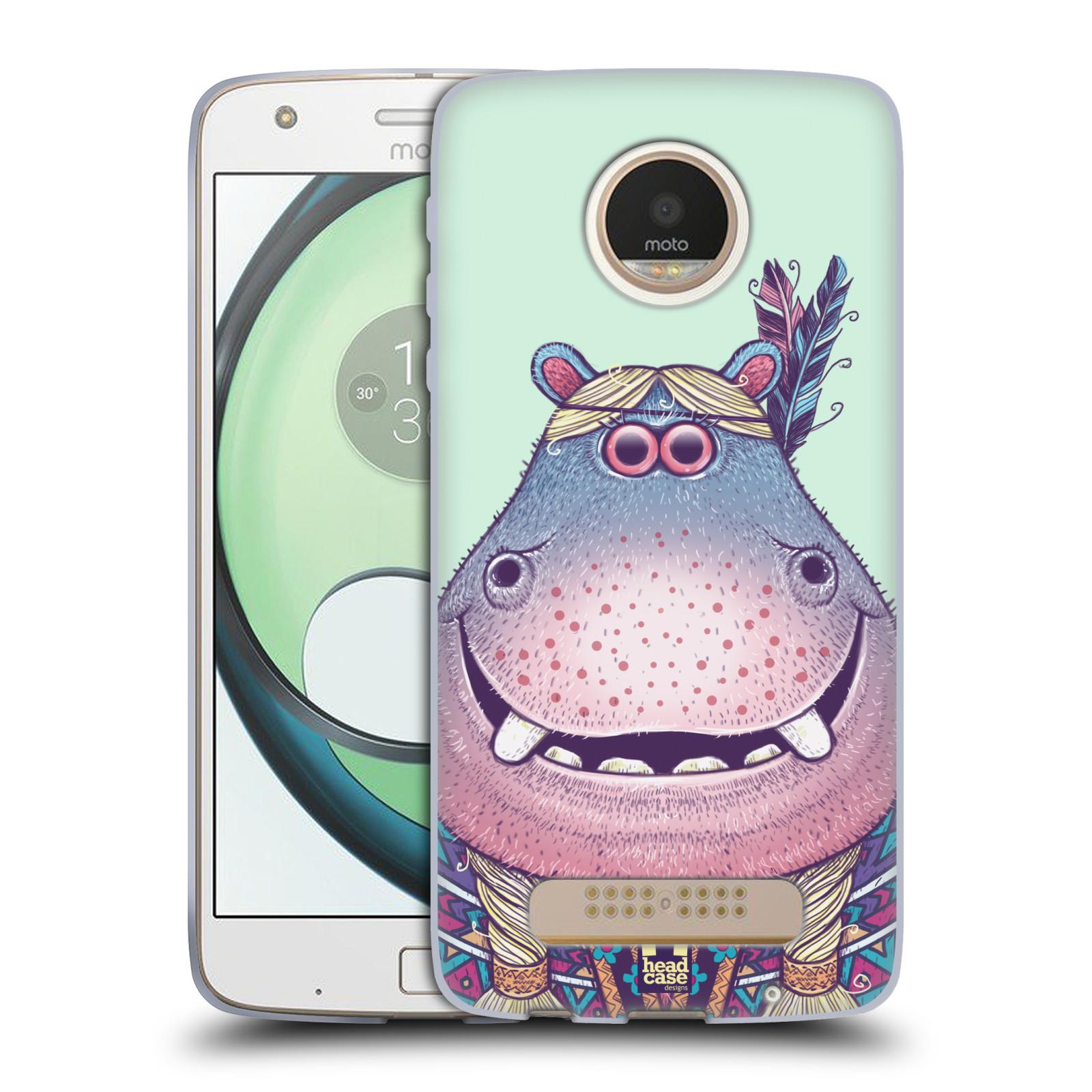68081498b HEAD CASE silikonový obal na mobil Lenovo Moto Z Play vzor Kreslená  zvířátka hroch