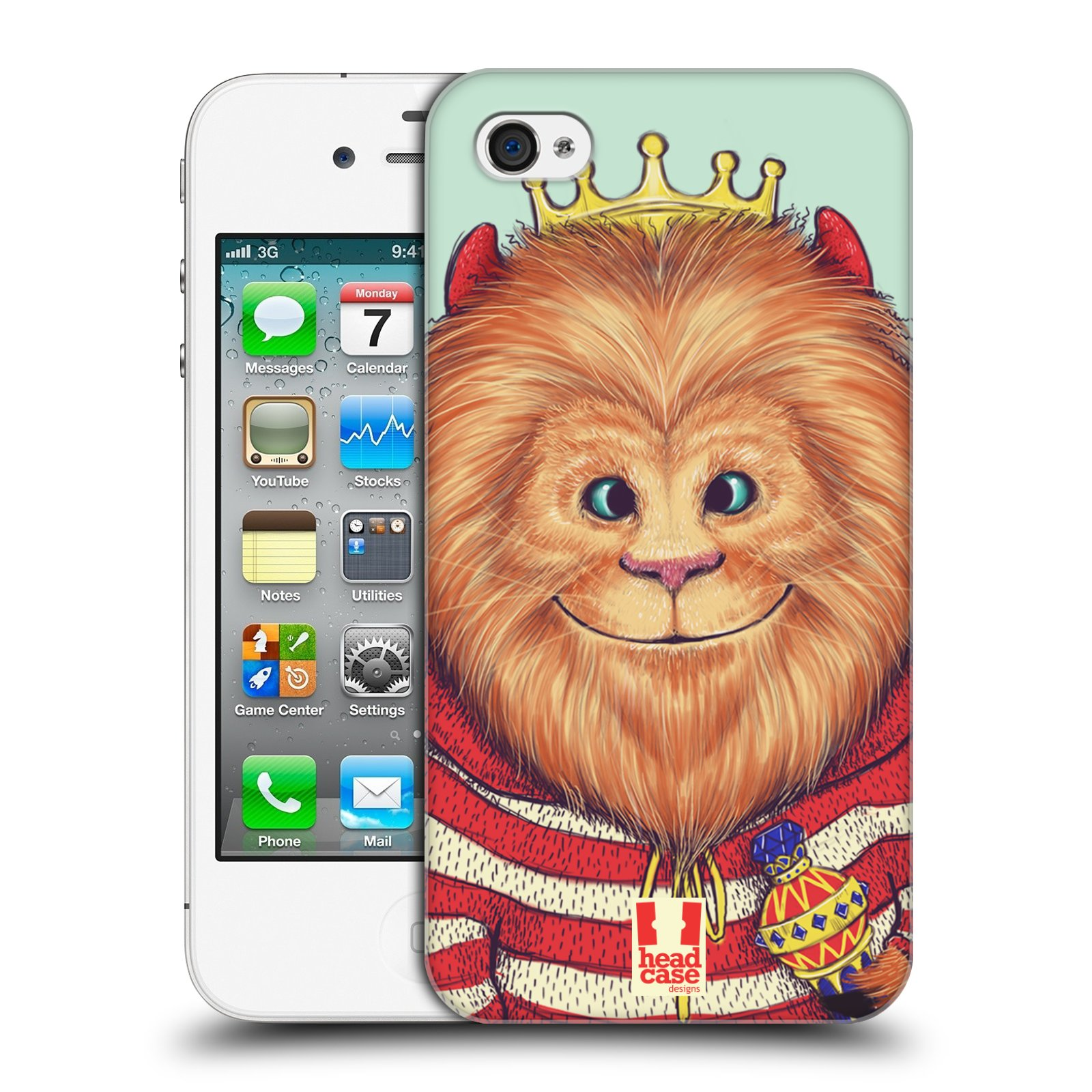 HEAD CASE plastový obal na mobil Apple Iphone 4/4S vzor Kreslená zvířátka lev