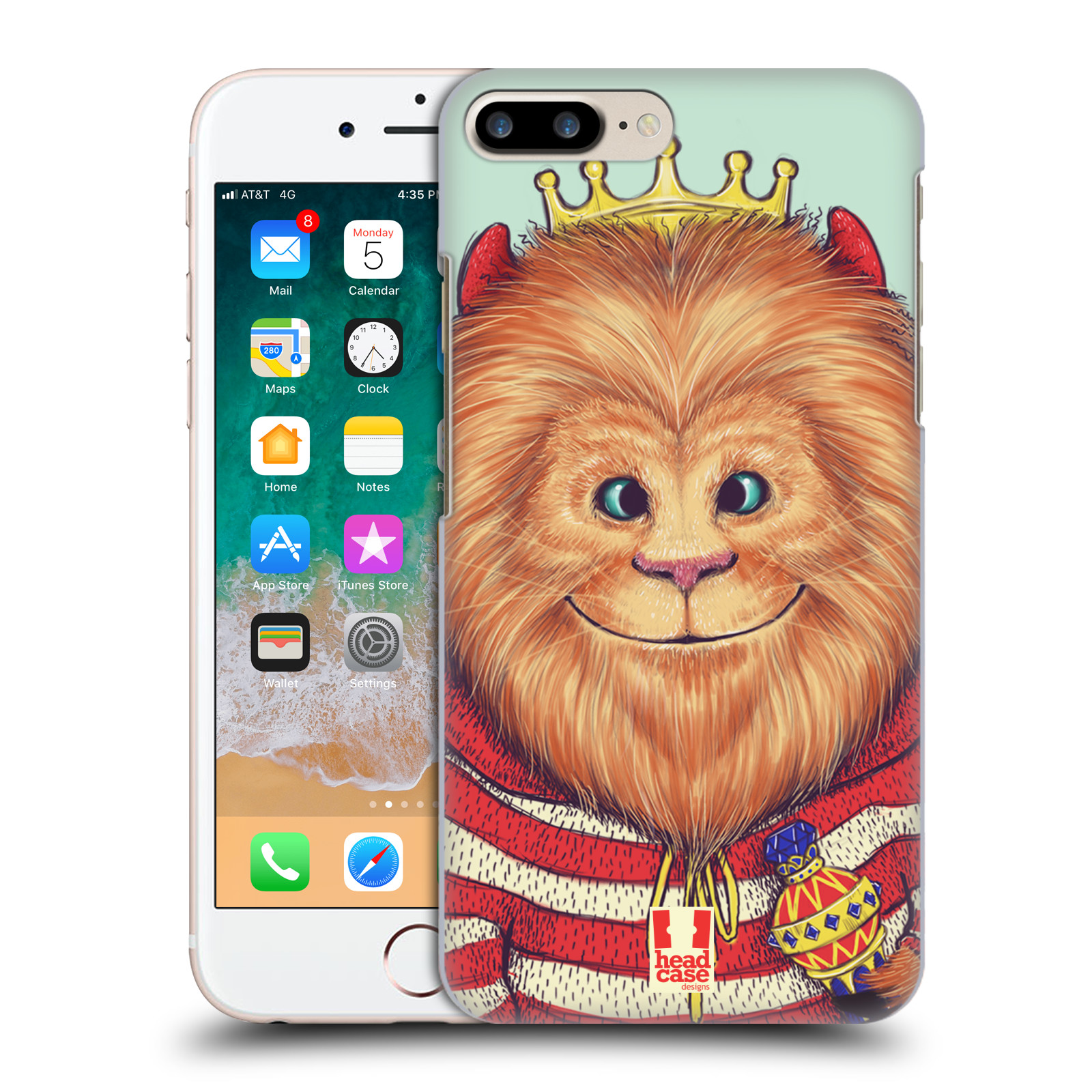 HEAD CASE plastový obal na mobil Apple Iphone 7 PLUS vzor Kreslená zvířátka lev