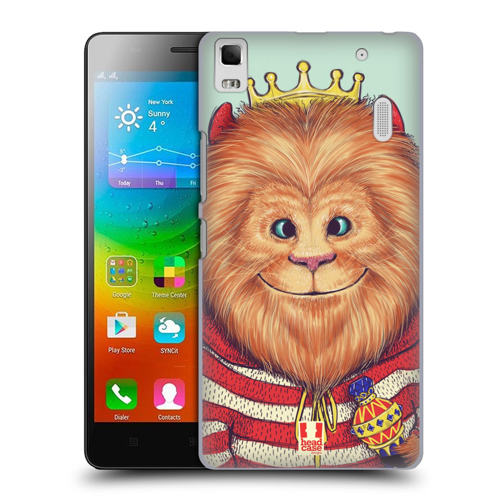 HEAD CASE pevný plastový obal na mobil LENOVO A7000 / A7000 DUAL / K3 NOTE vzor Kreslená zvířátka lev