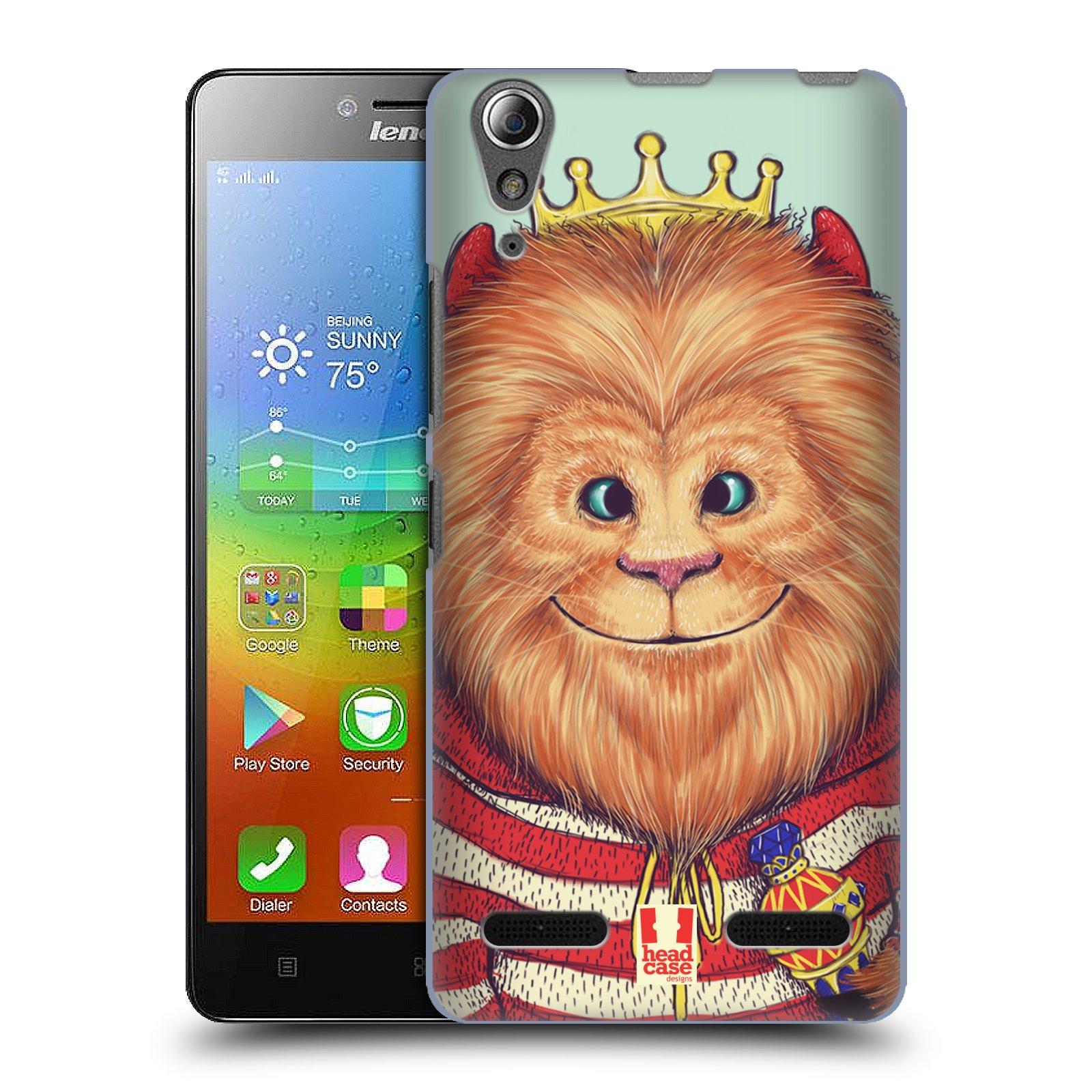 HEAD CASE pevný plastový obal na mobil LENOVO A6000 / A6000 PLUS vzor Kreslená zvířátka lev