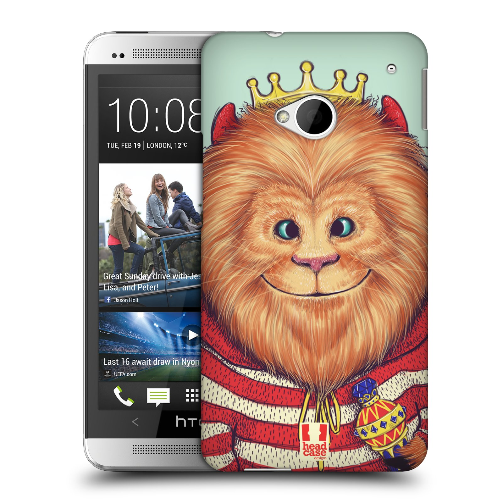 HEAD CASE plastový obal na mobil HTC One (M7) vzor Kreslená zvířátka lev