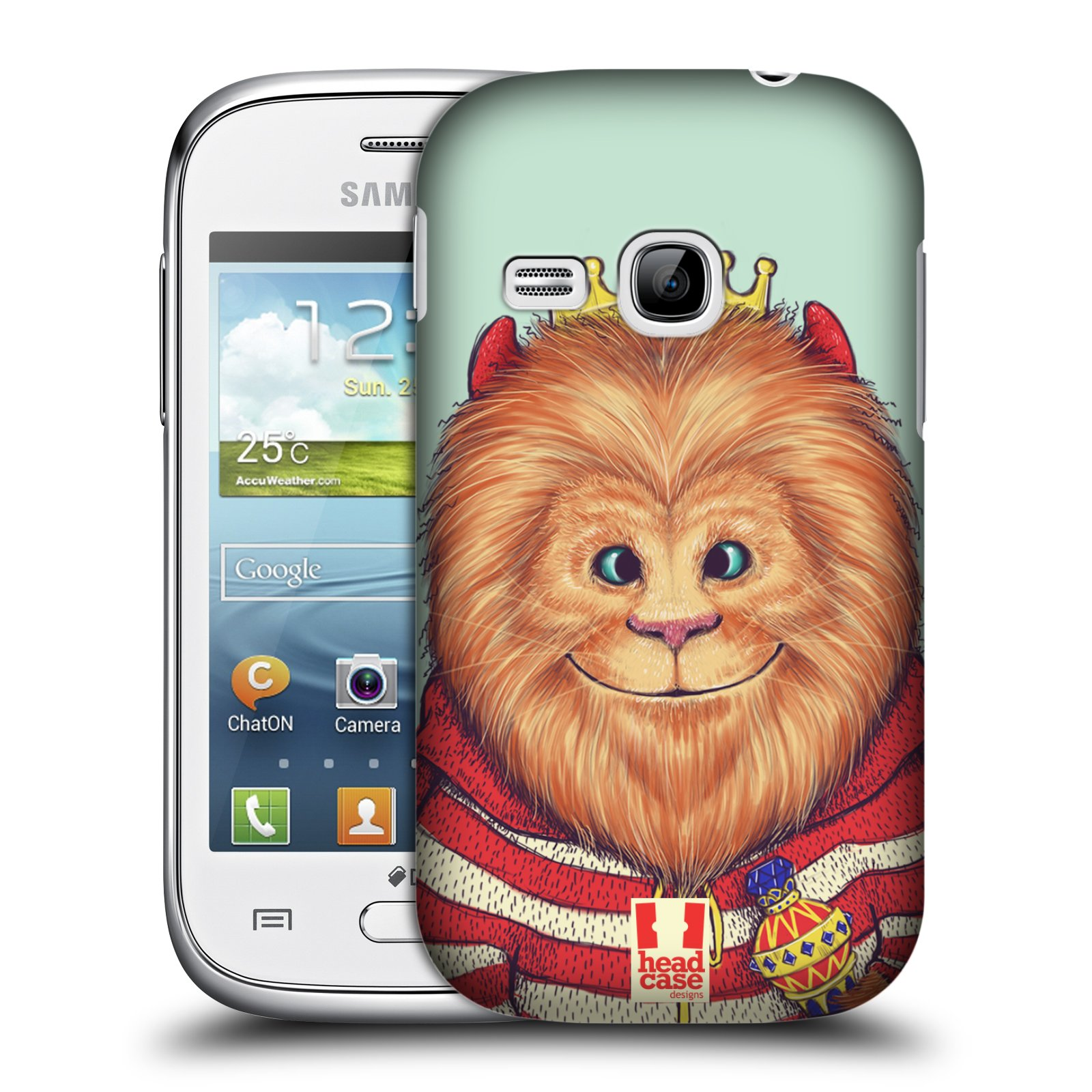 HEAD CASE plastový obal na mobil SAMSUNG Galaxy Young S6310 vzor Kreslená zvířátka lev