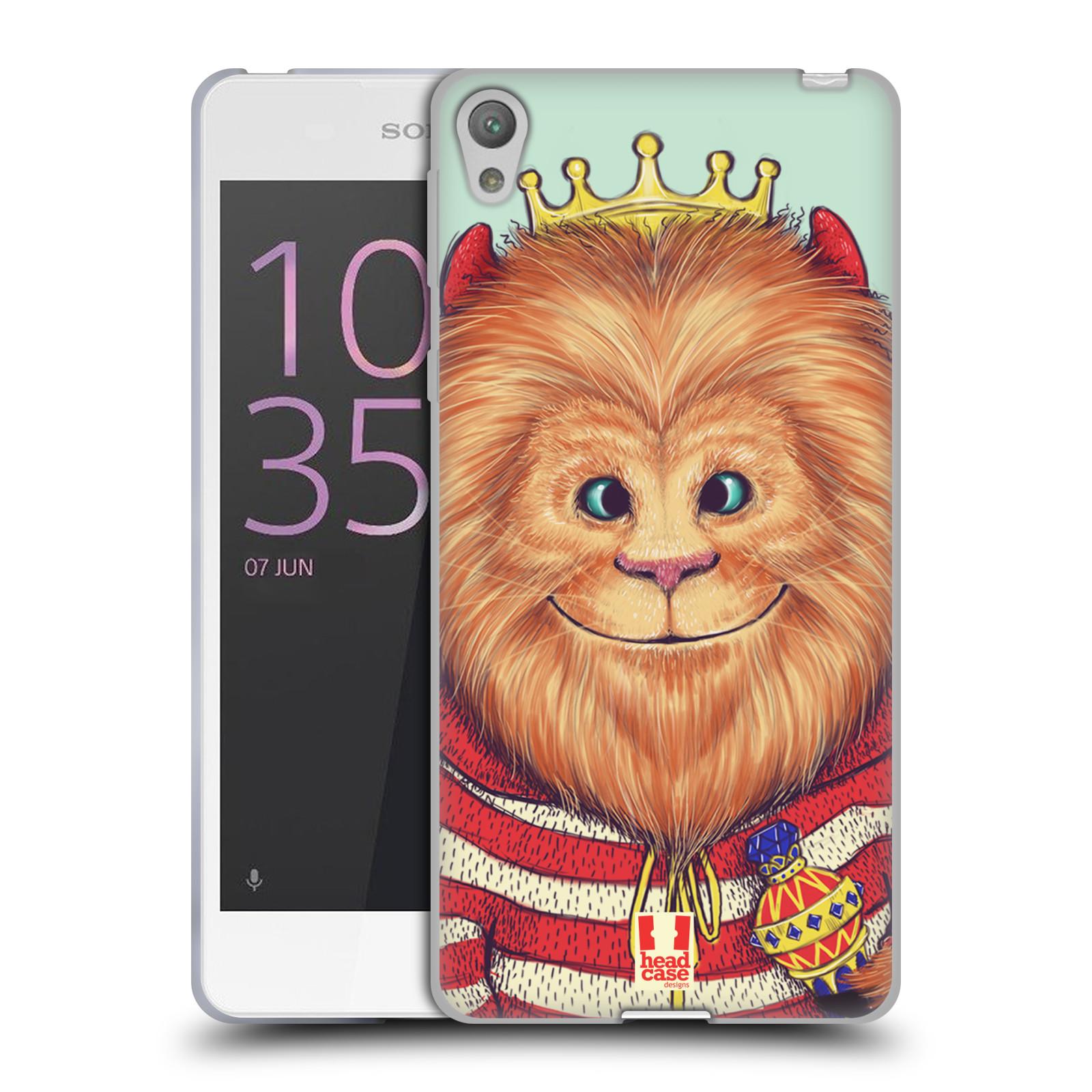 HEAD CASE silikonový obal na mobil SONY XPERIA E5 vzor Kreslená zvířátka lev