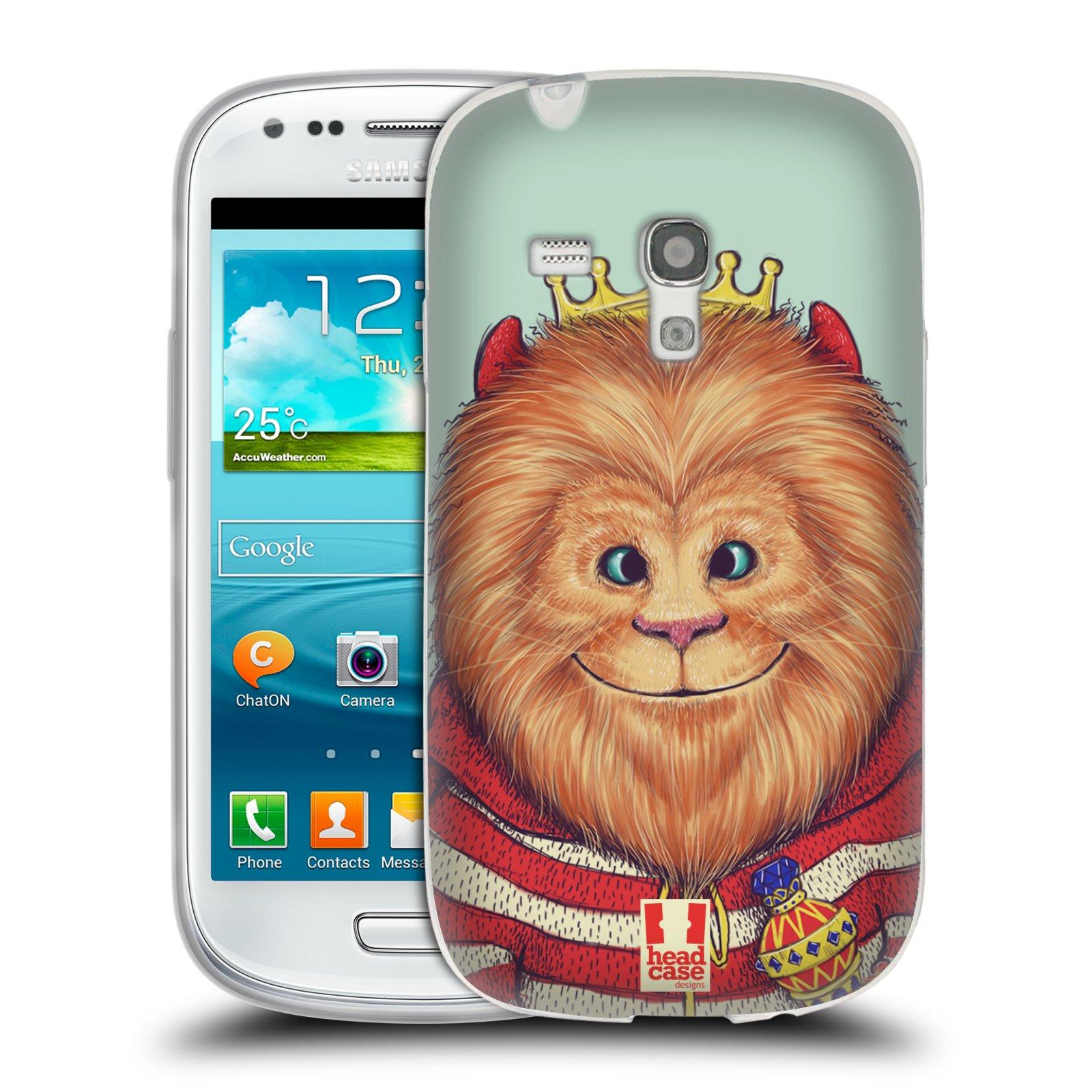 HEAD CASE silikonový obal na mobil Samsung Galaxy S3 MINI i8190 vzor Kreslená zvířátka lev