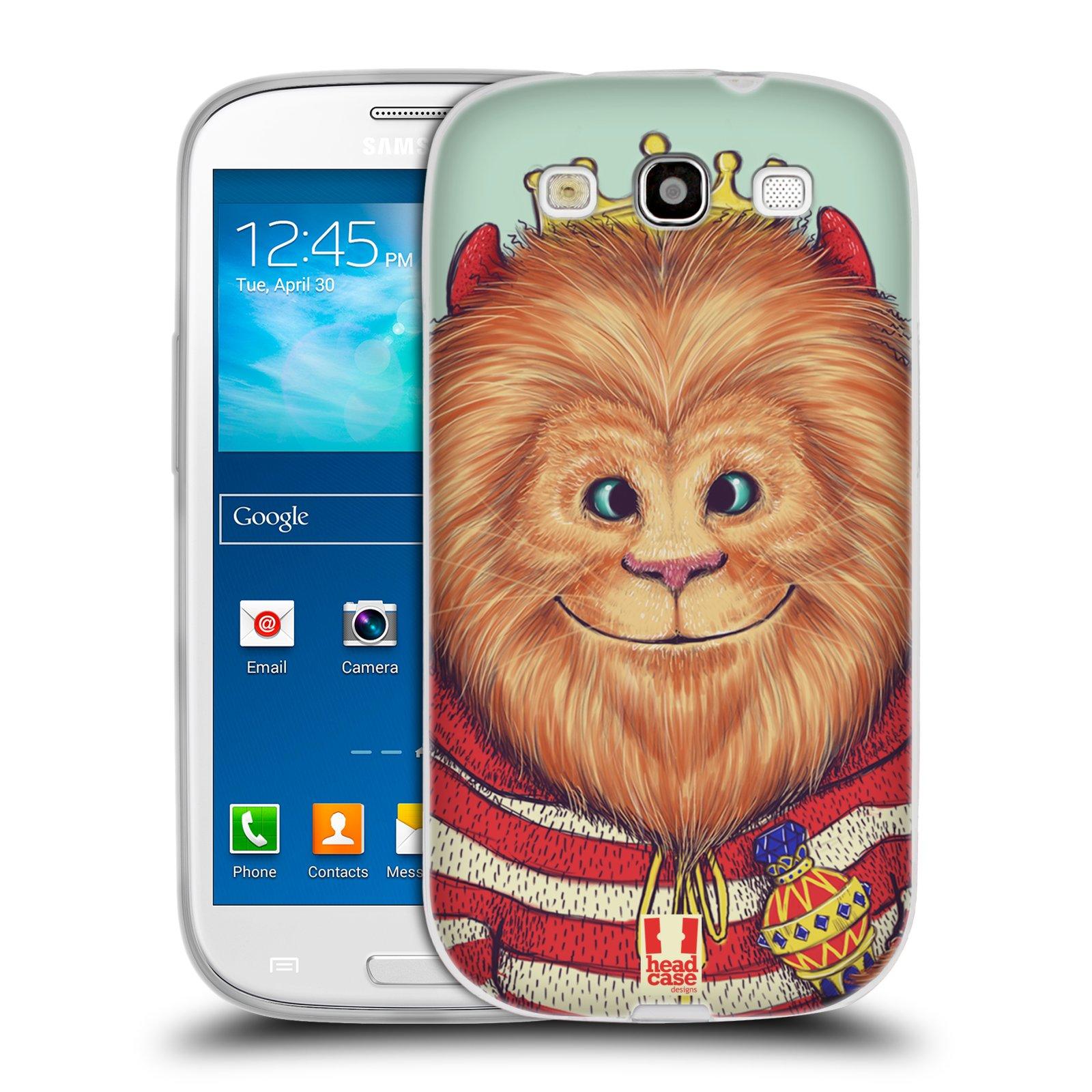 HEAD CASE silikonový obal na mobil Samsung Galaxy S3 i9300 vzor Kreslená zvířátka lev
