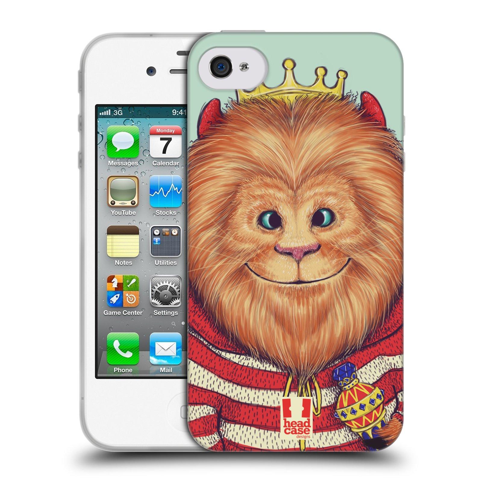 HEAD CASE silikonový obal na mobil Apple Iphone 4/4S vzor Kreslená zvířátka lev