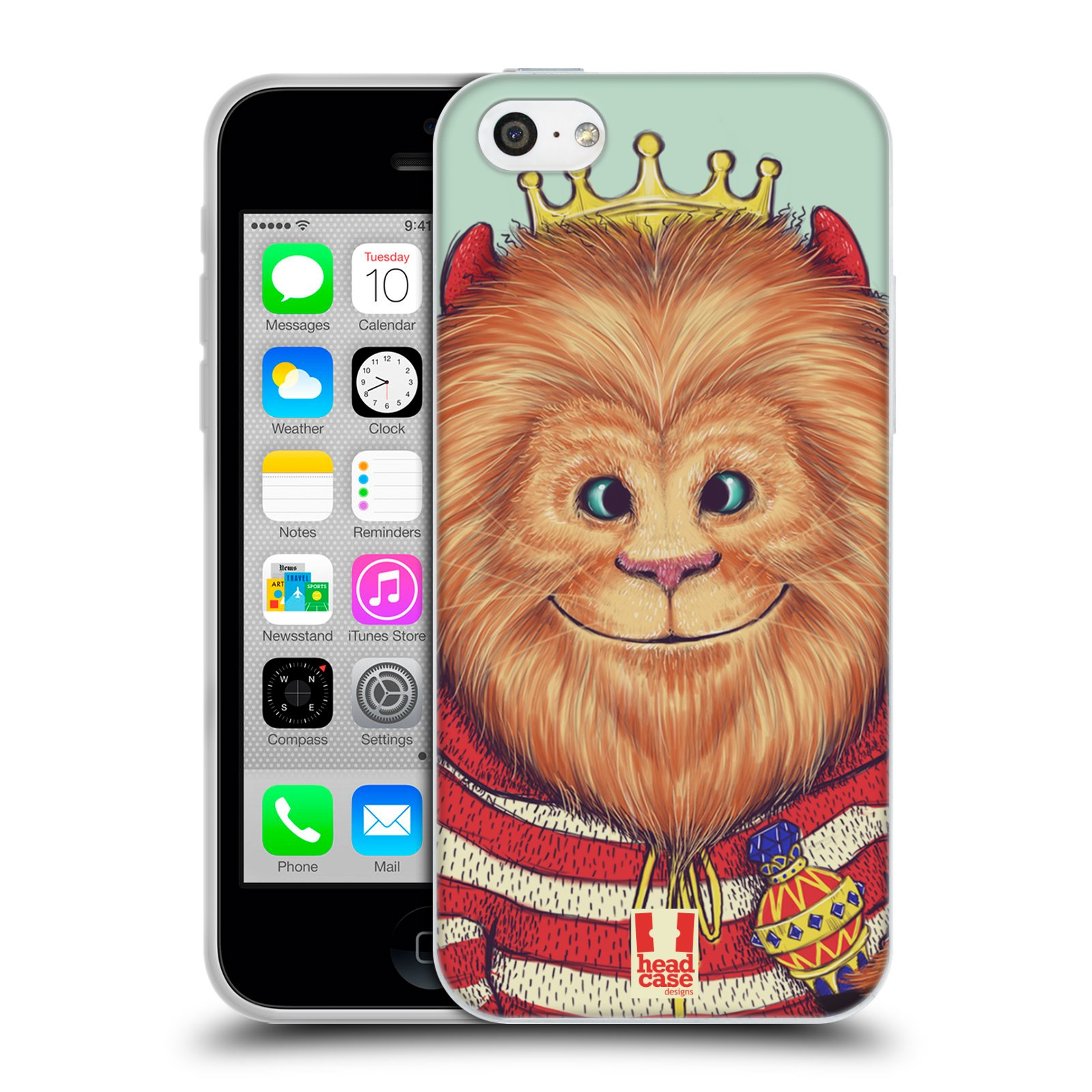 HEAD CASE silikonový obal na mobil Apple Iphone 5C vzor Kreslená zvířátka lev