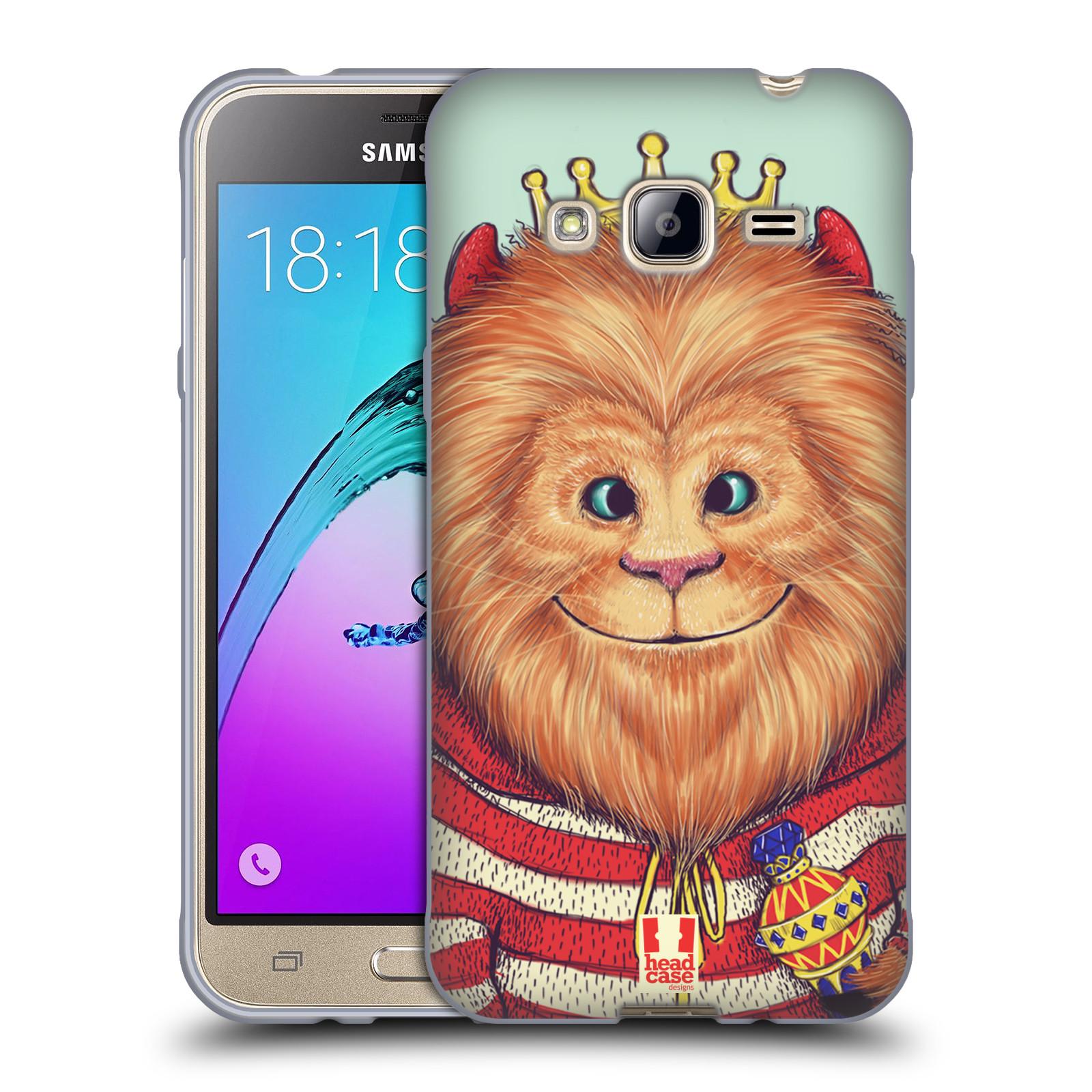 HEAD CASE silikonový obal na mobil Samsung Galaxy J3, J3 2016 vzor Kreslená zvířátka lev