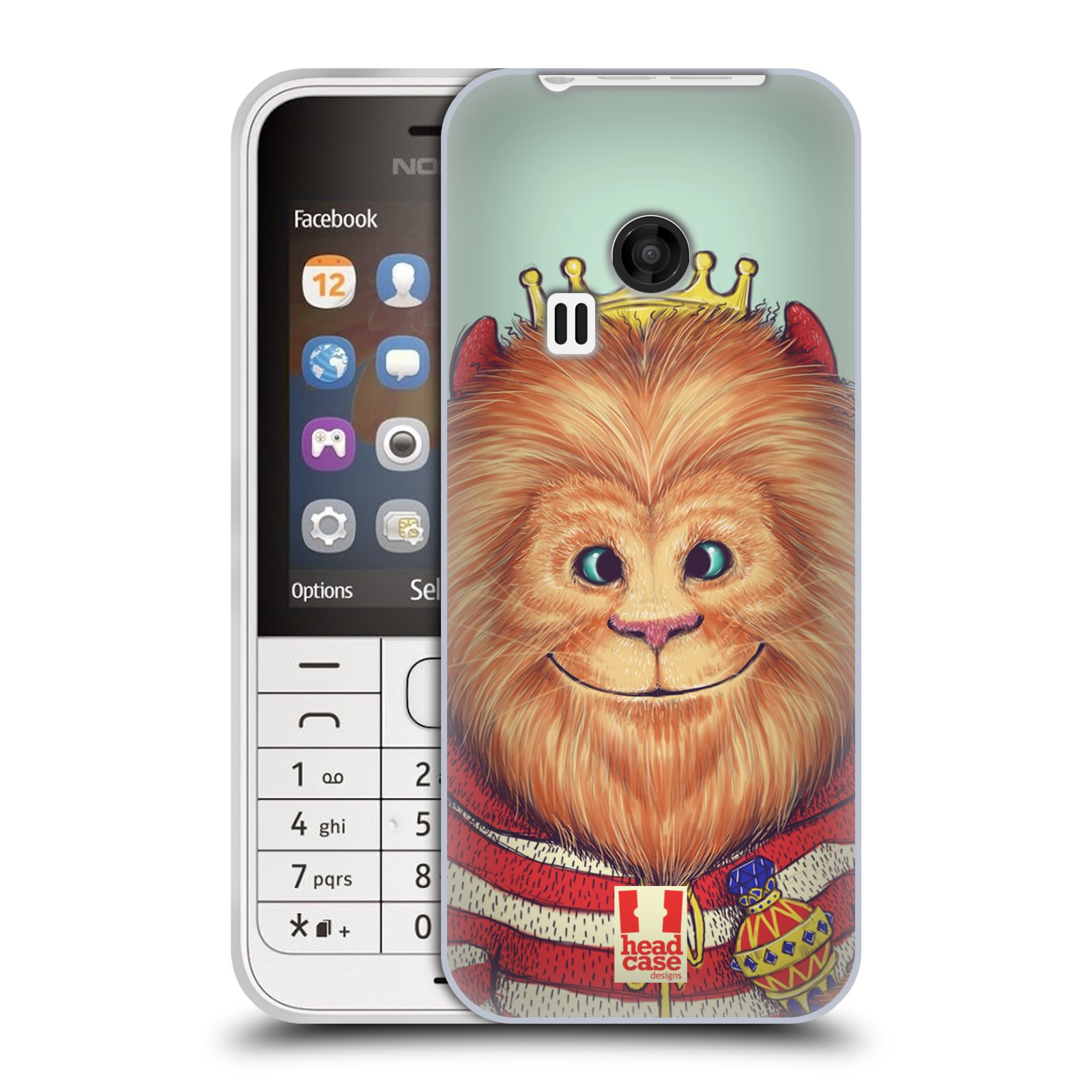 HEAD CASE silikonový obal na mobil NOKIA 220 / NOKIA 220 DUAL SIM vzor Kreslená zvířátka lev