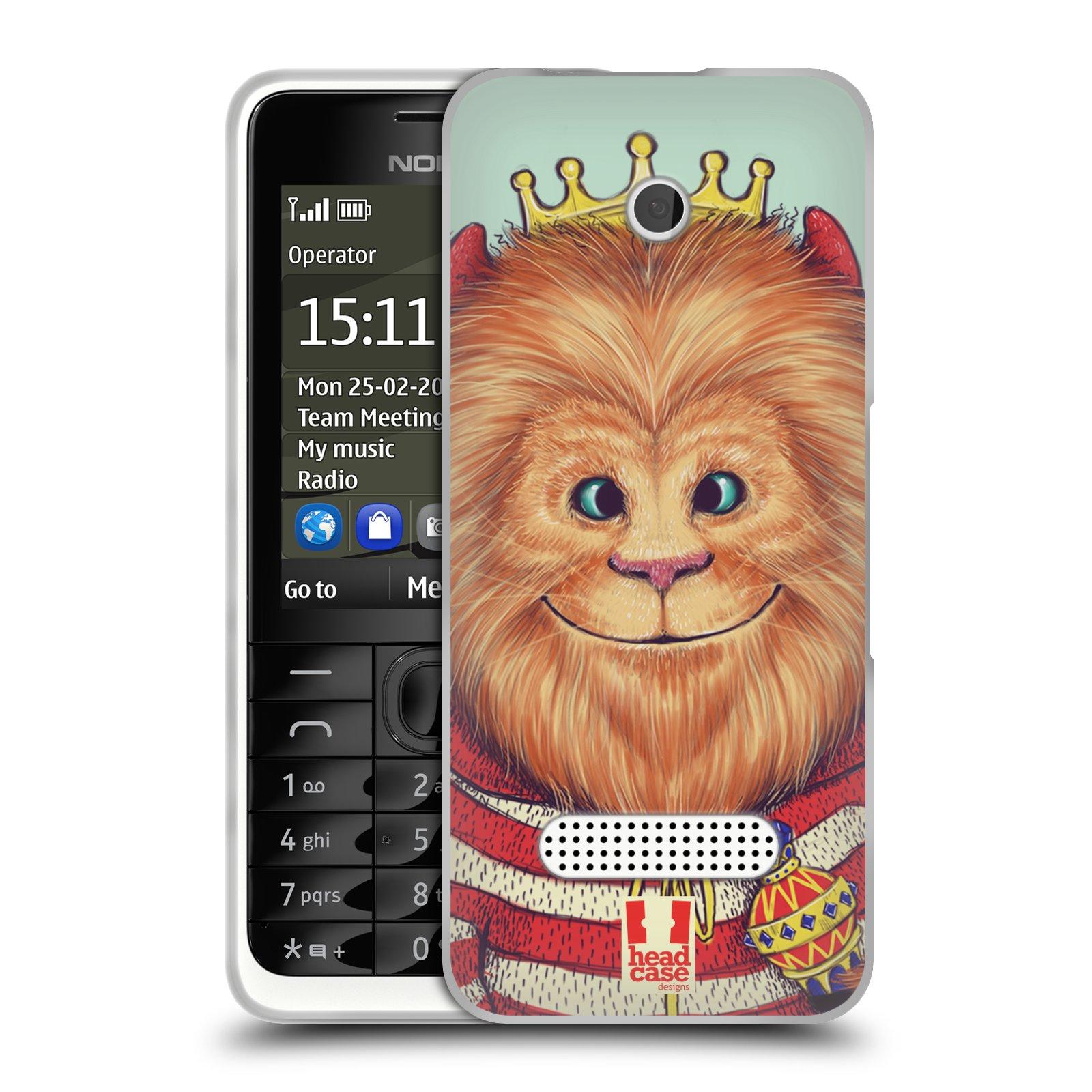 HEAD CASE silikonový obal na mobil NOKIA 301 vzor Kreslená zvířátka lev