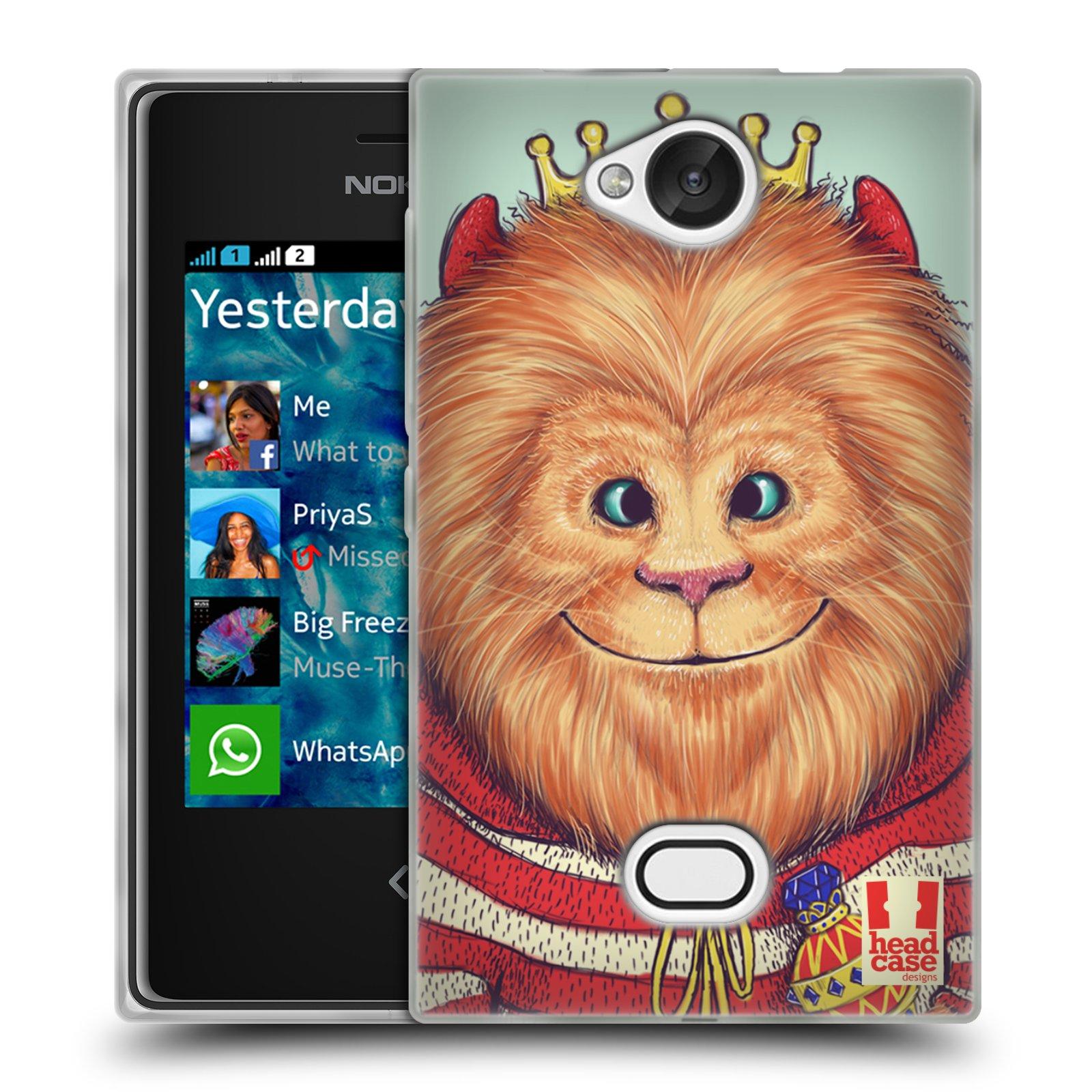 HEAD CASE silikonový obal na mobil NOKIA Asha 503 vzor Kreslená zvířátka lev