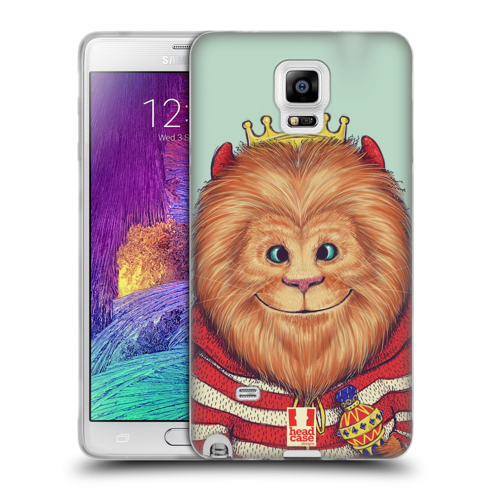 HEAD CASE silikonový obal na mobil Samsung Galaxy Note 4 (N910) vzor Kreslená zvířátka lev