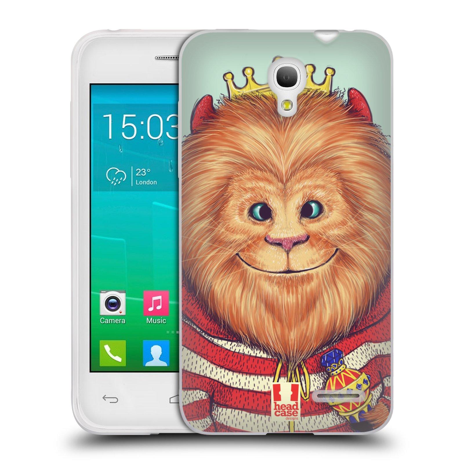 HEAD CASE silikonový obal na mobil Alcatel POP S3 OT-5050Y vzor Kreslená zvířátka lev