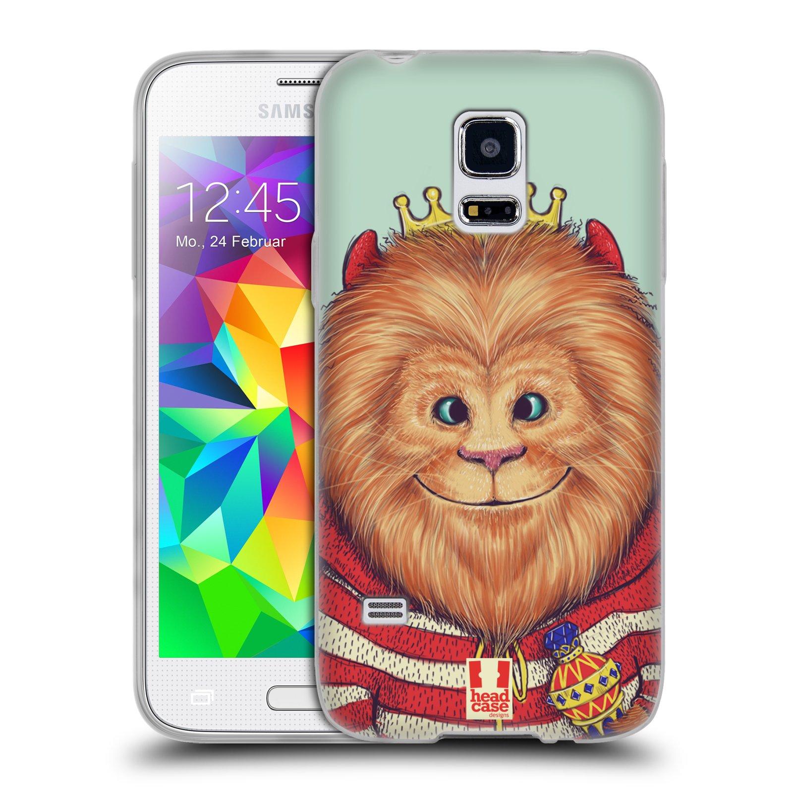 HEAD CASE silikonový obal na mobil Samsung Galaxy S5 MINI vzor Kreslená zvířátka lev