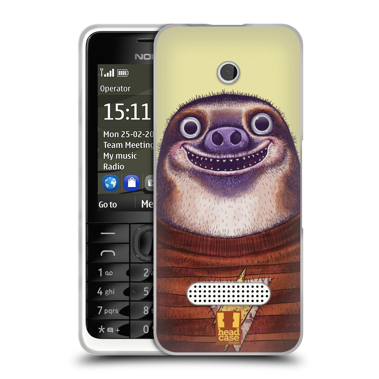 HEAD CASE silikonový obal na mobil NOKIA 301 vzor Kreslená zvířátka lenochod