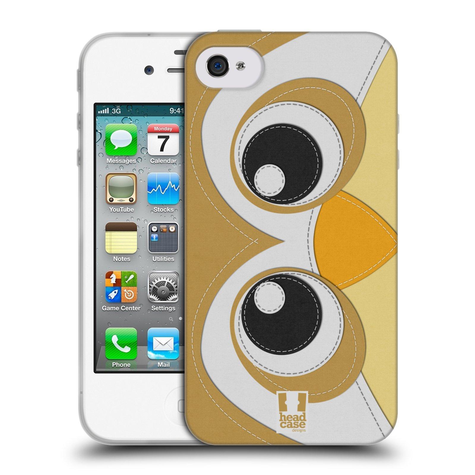 HEAD CASE silikonový obal na mobil Apple Iphone 4/4S vzor zvířecí nášivka sovička