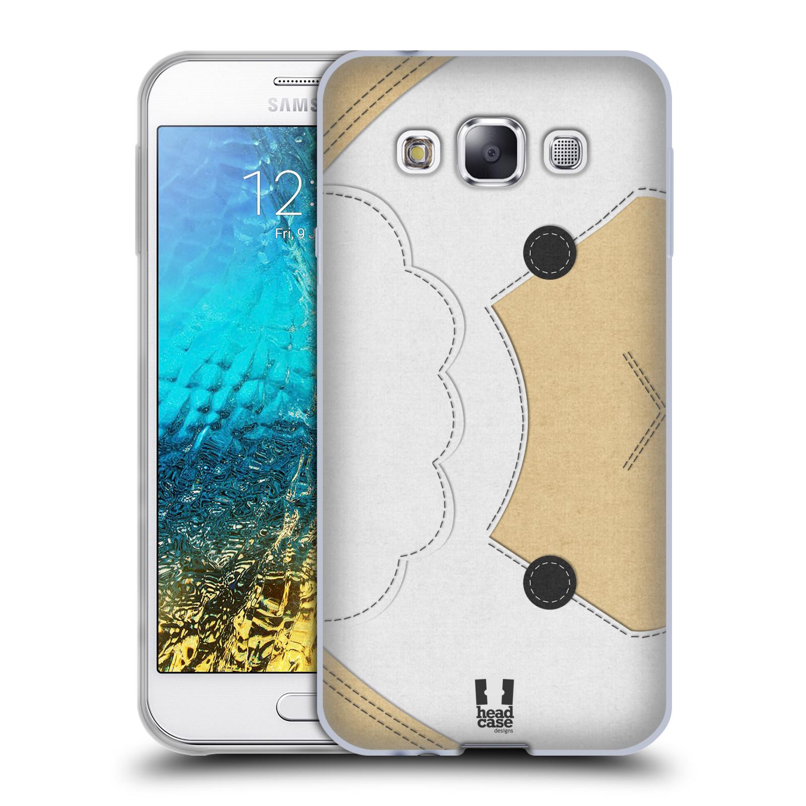 HEAD CASE silikonový obal na mobil Samsung Galaxy E5 vzor zvířecí nášivka ovečka