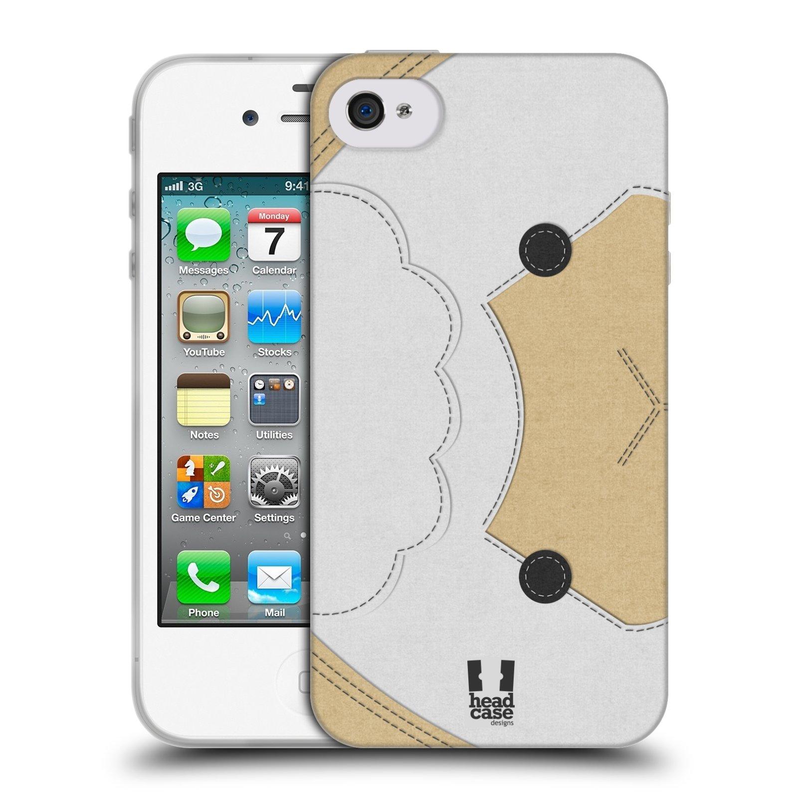 HEAD CASE silikonový obal na mobil Apple Iphone 4/4S vzor zvířecí nášivka ovečka