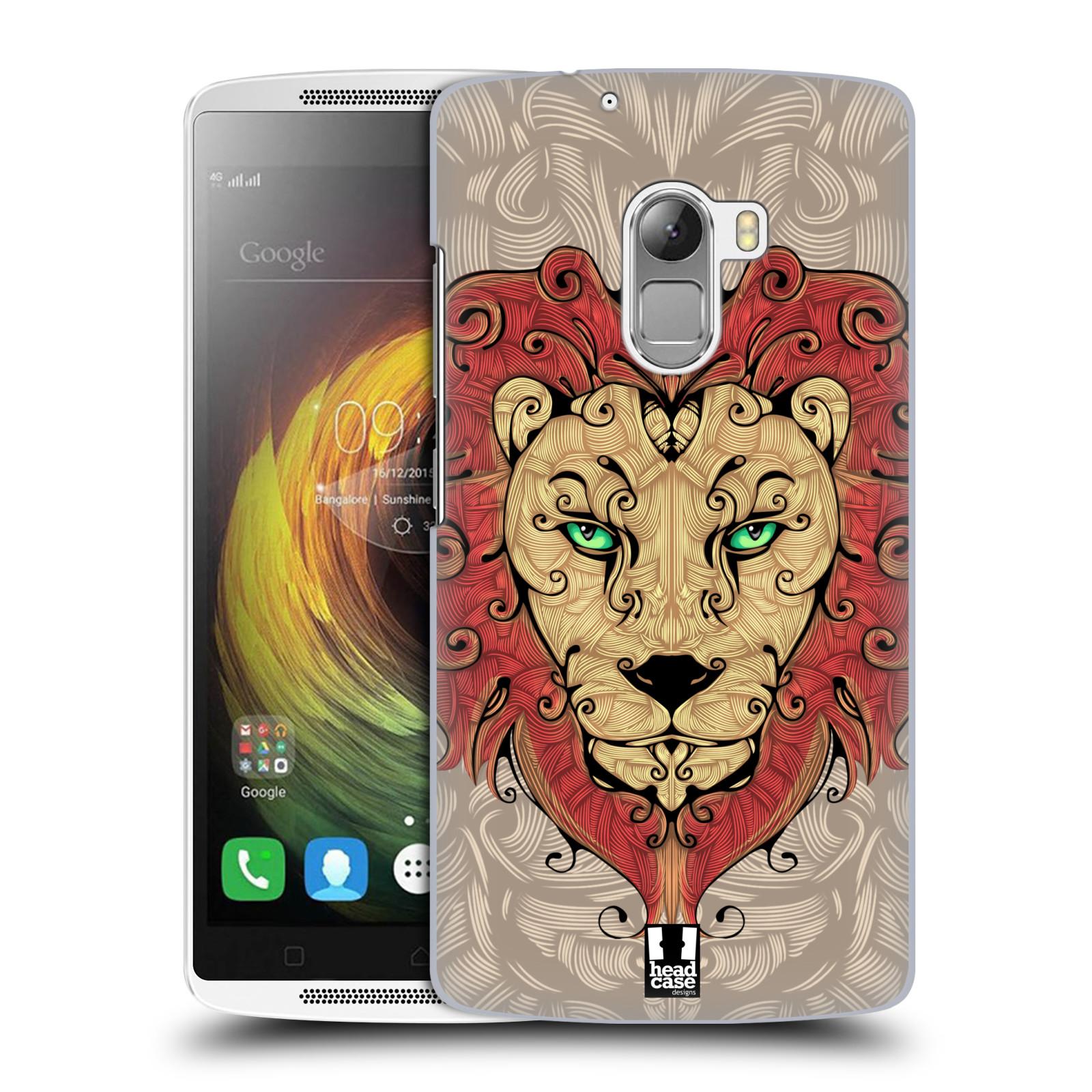 HEAD CASE pevný plastový obal na mobil LENOVO A7010 / A7010 DUAL / K4 Note / Vibe X3 lite vzor kudrlinky zvíře lev